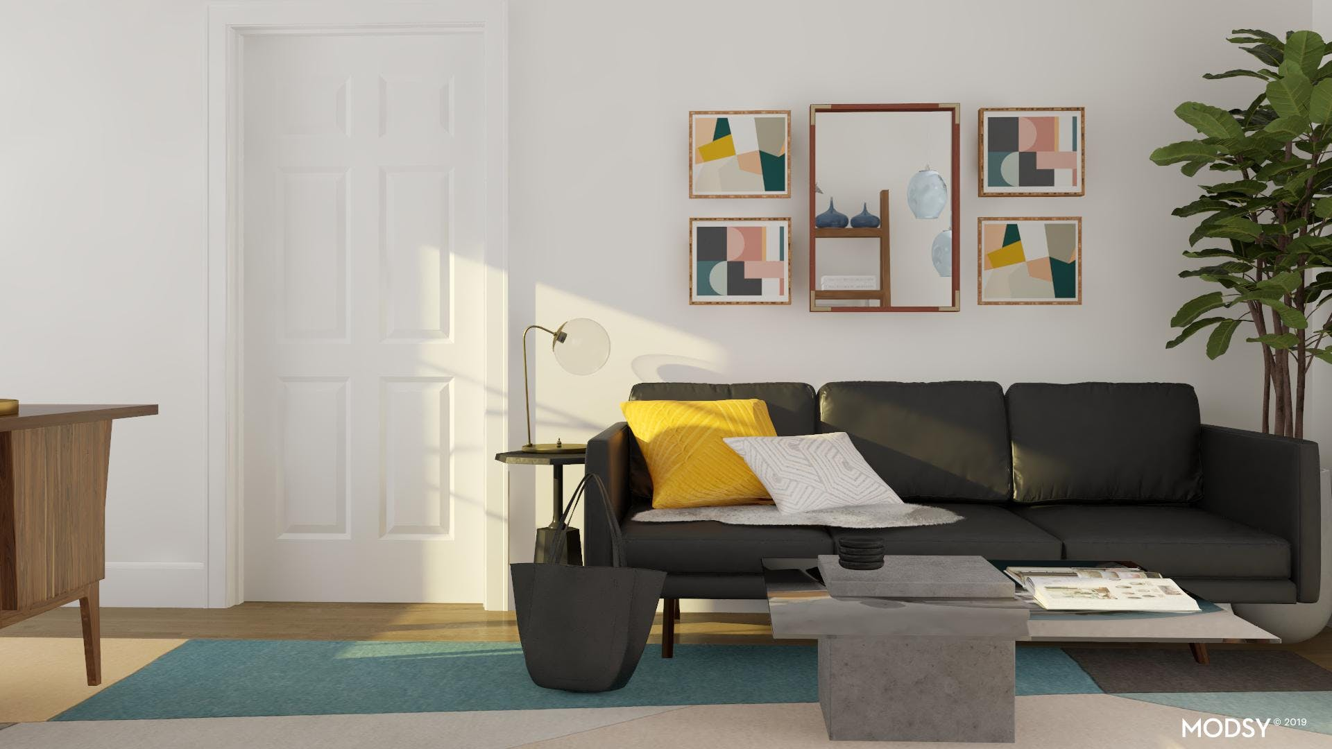 Bright Colorful Art In Neutral Masculine Office
