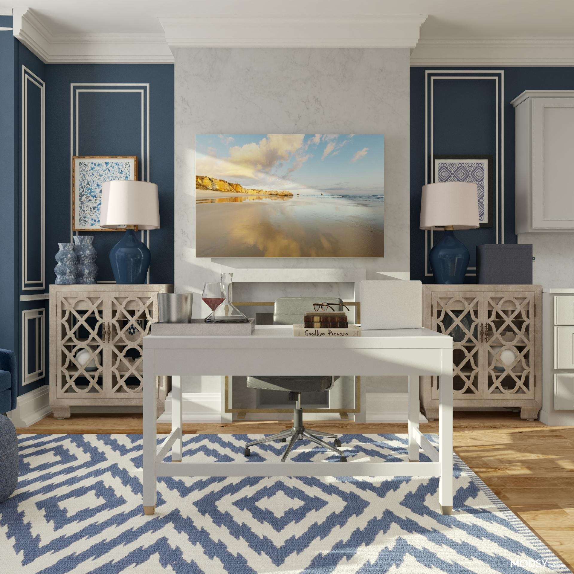 Transitional Style Blue Office