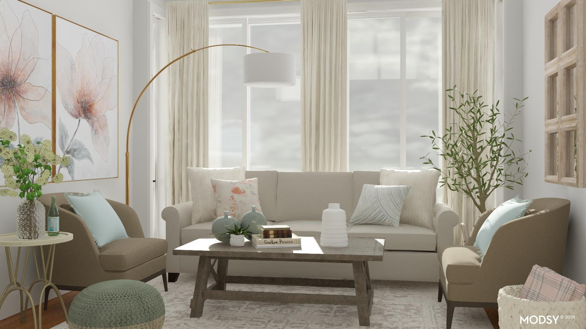 Perfectly Pastel Traditional Living Room