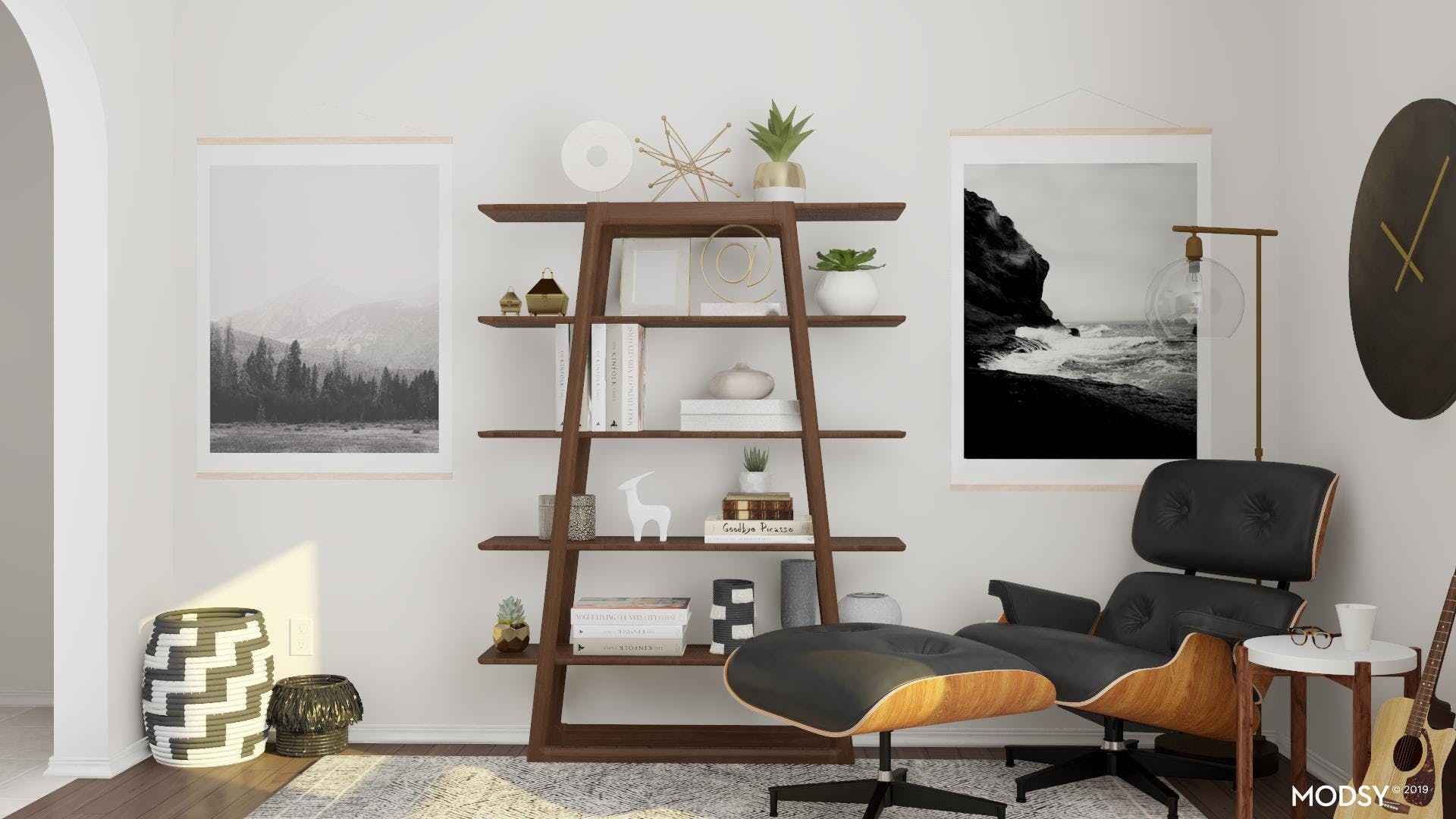 A Warm Black And White Mid-Century Mod Office Nook
