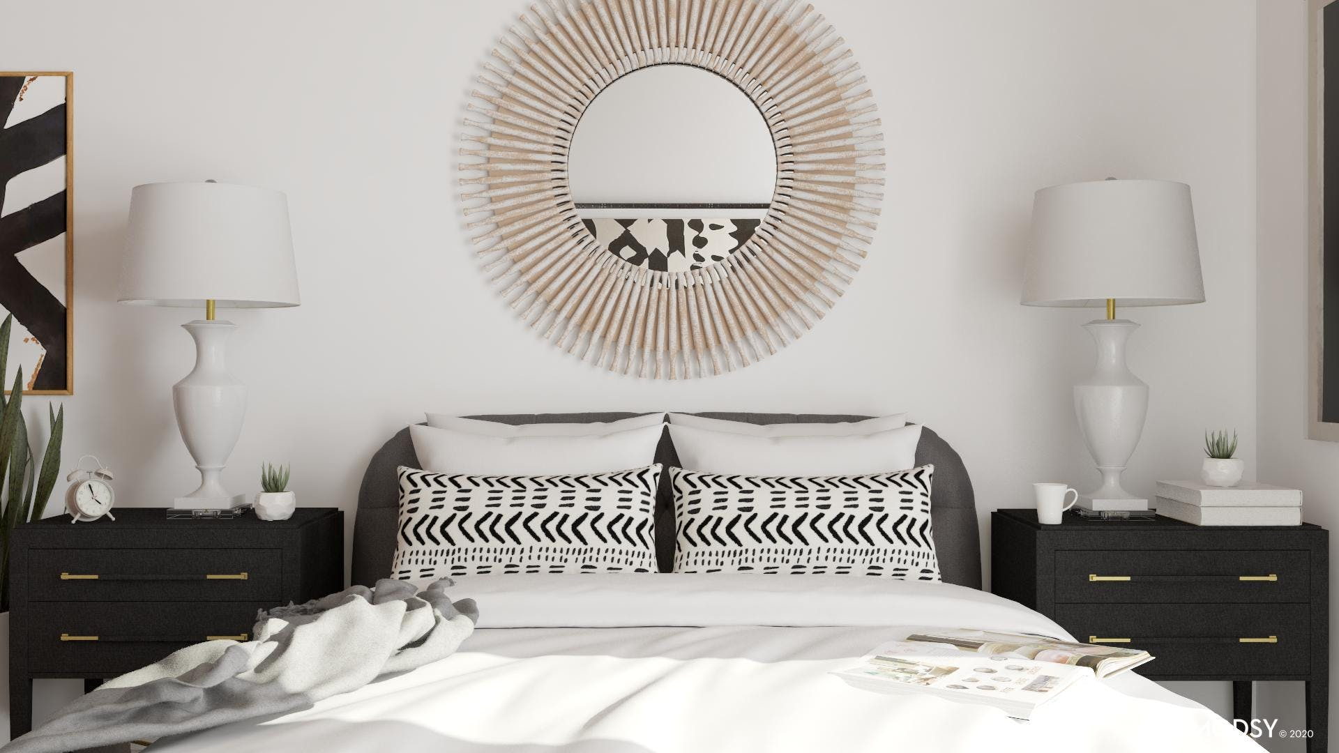 Austere Accent Tables: Eclectic Bedroom