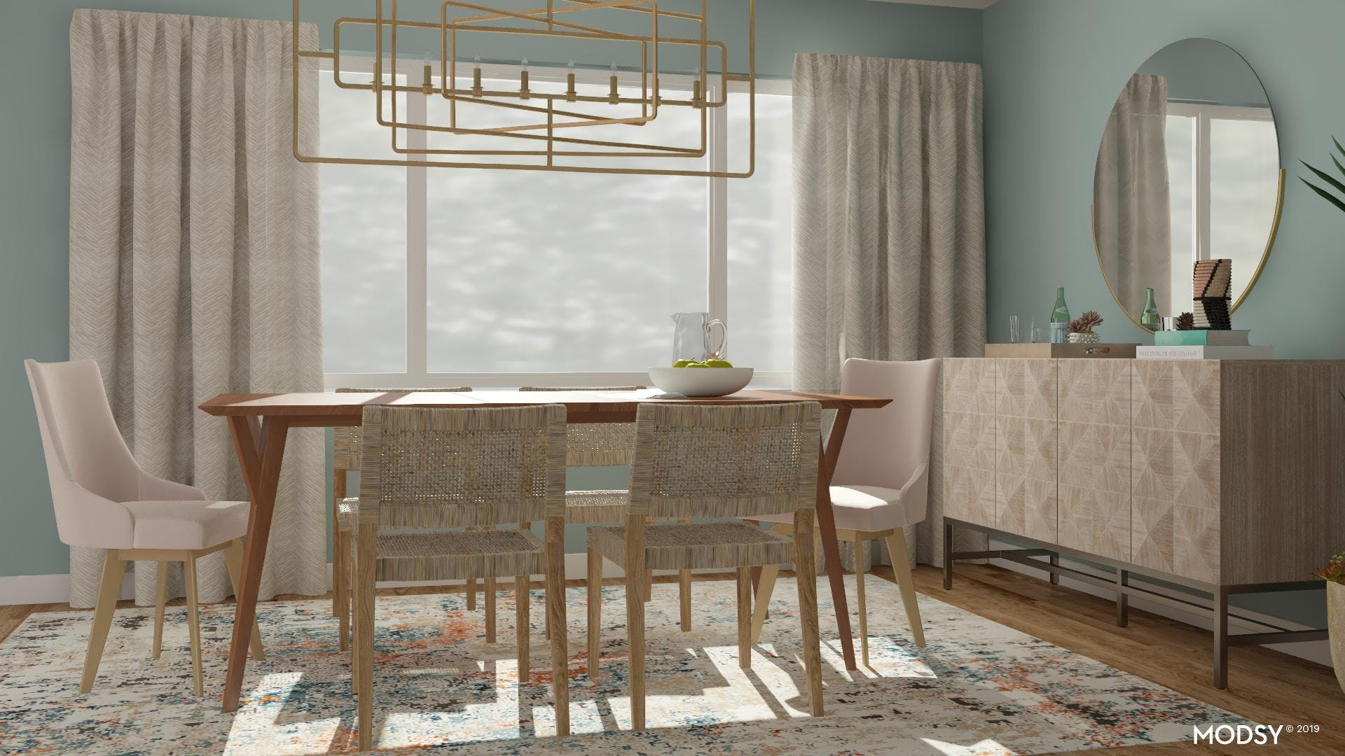 Mid-Century Modern Dining Room With Pastels