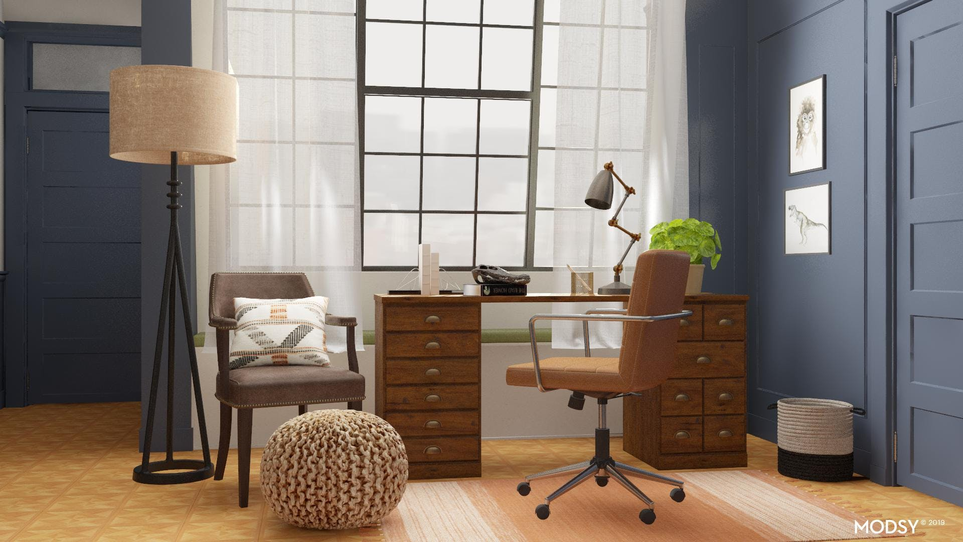 Traditional Office with an Industrial Flair