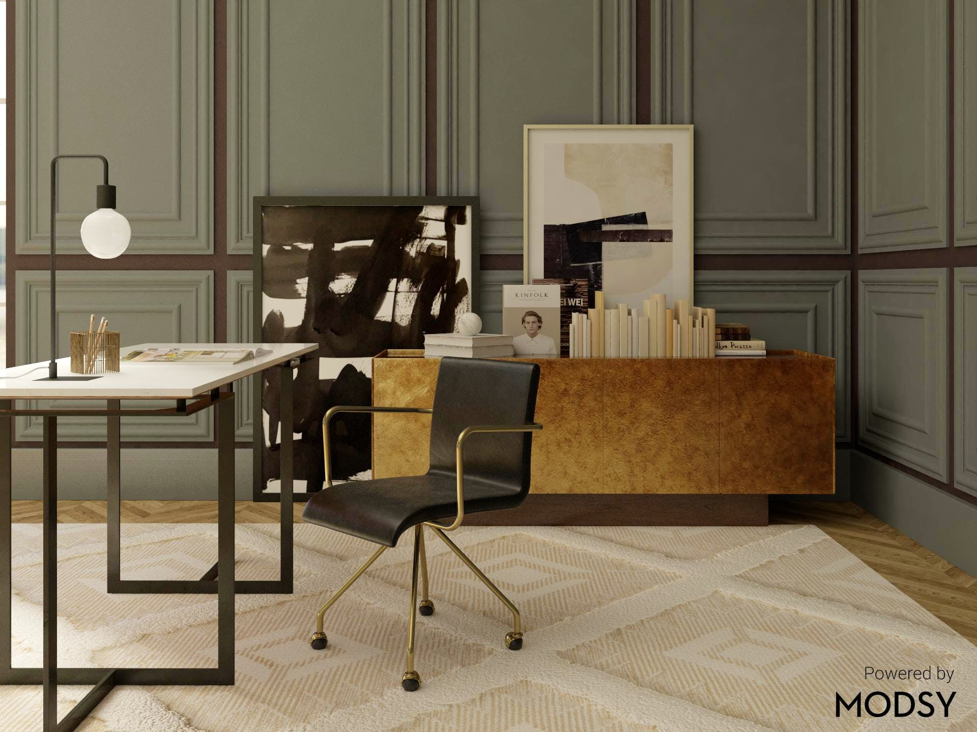 Glam Office in Moody Color Pallete