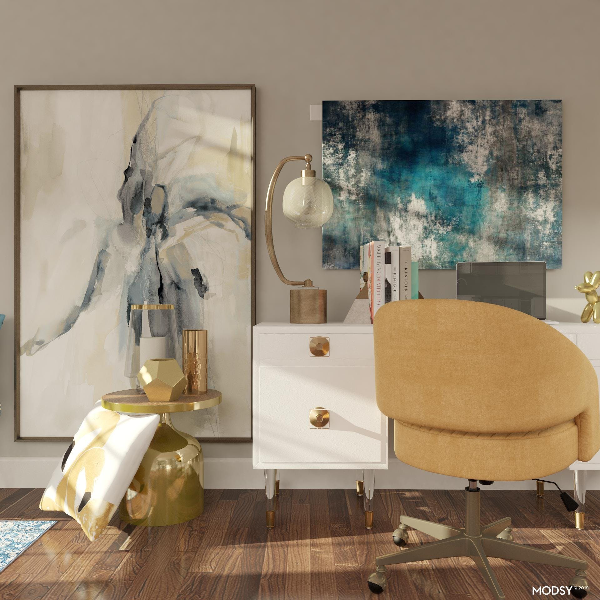 Glamorous Blue And Gold Office