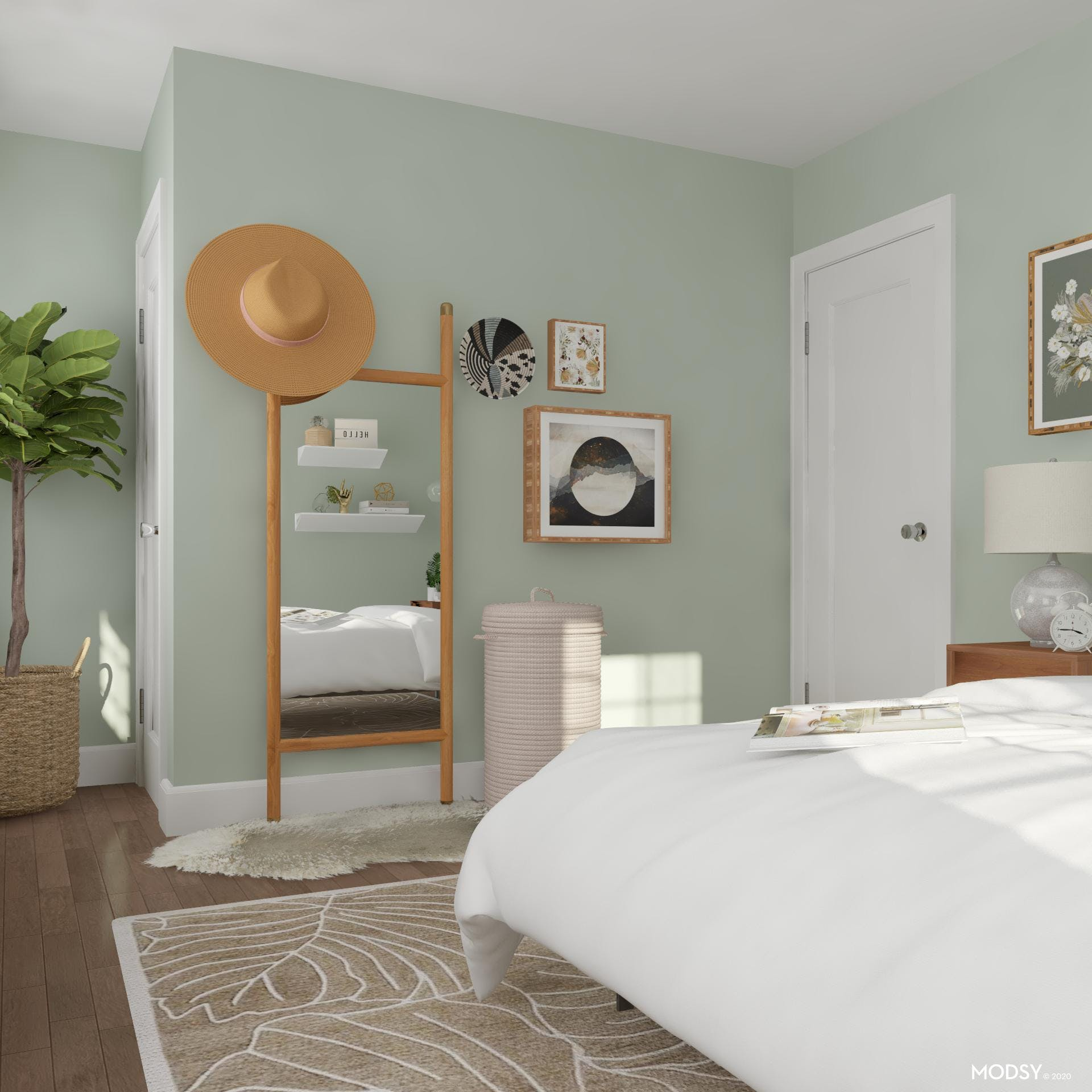 Eclectic Bedroom with Getting Ready Area