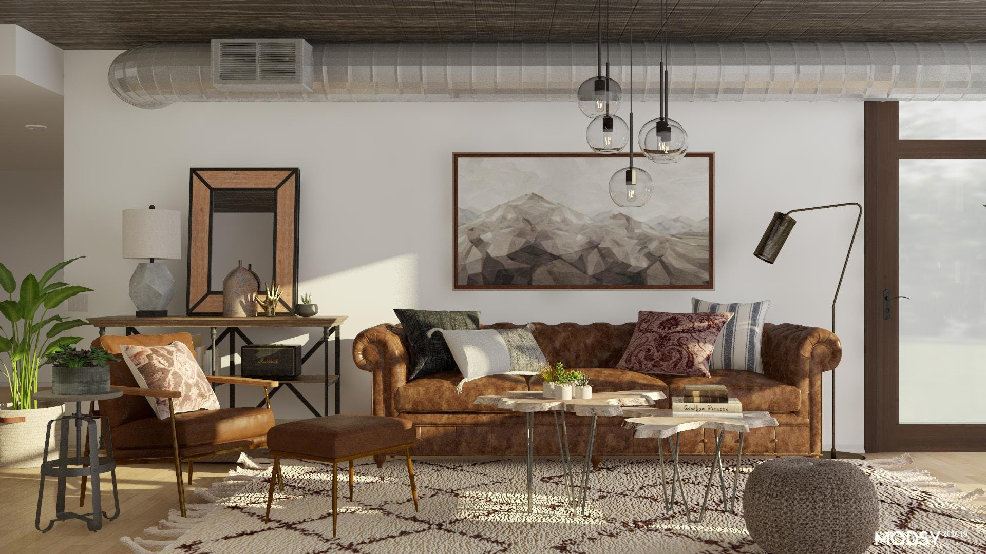 A Masculine, Industrial Living Room