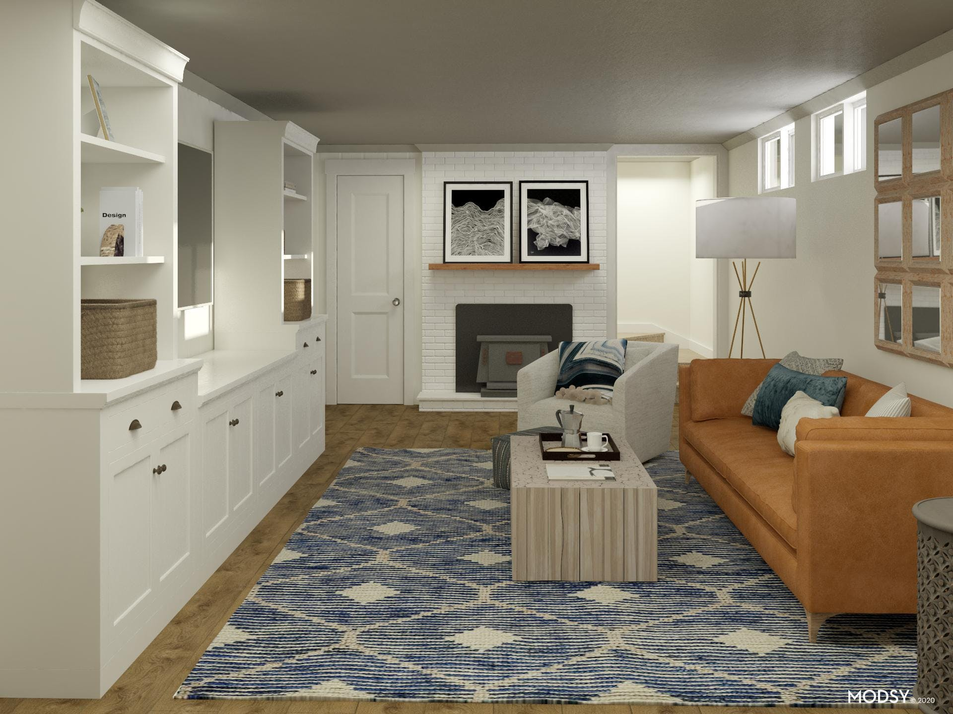 Basement Living Room in Relaxed Transitional Style
