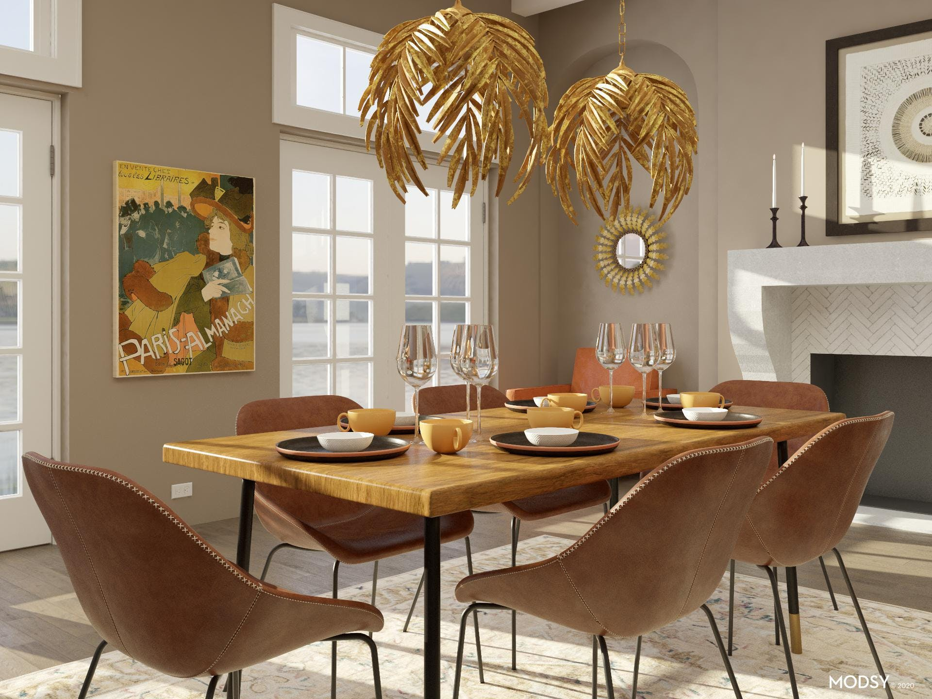 Extra Seating in Mid-Century Glam Dining Room