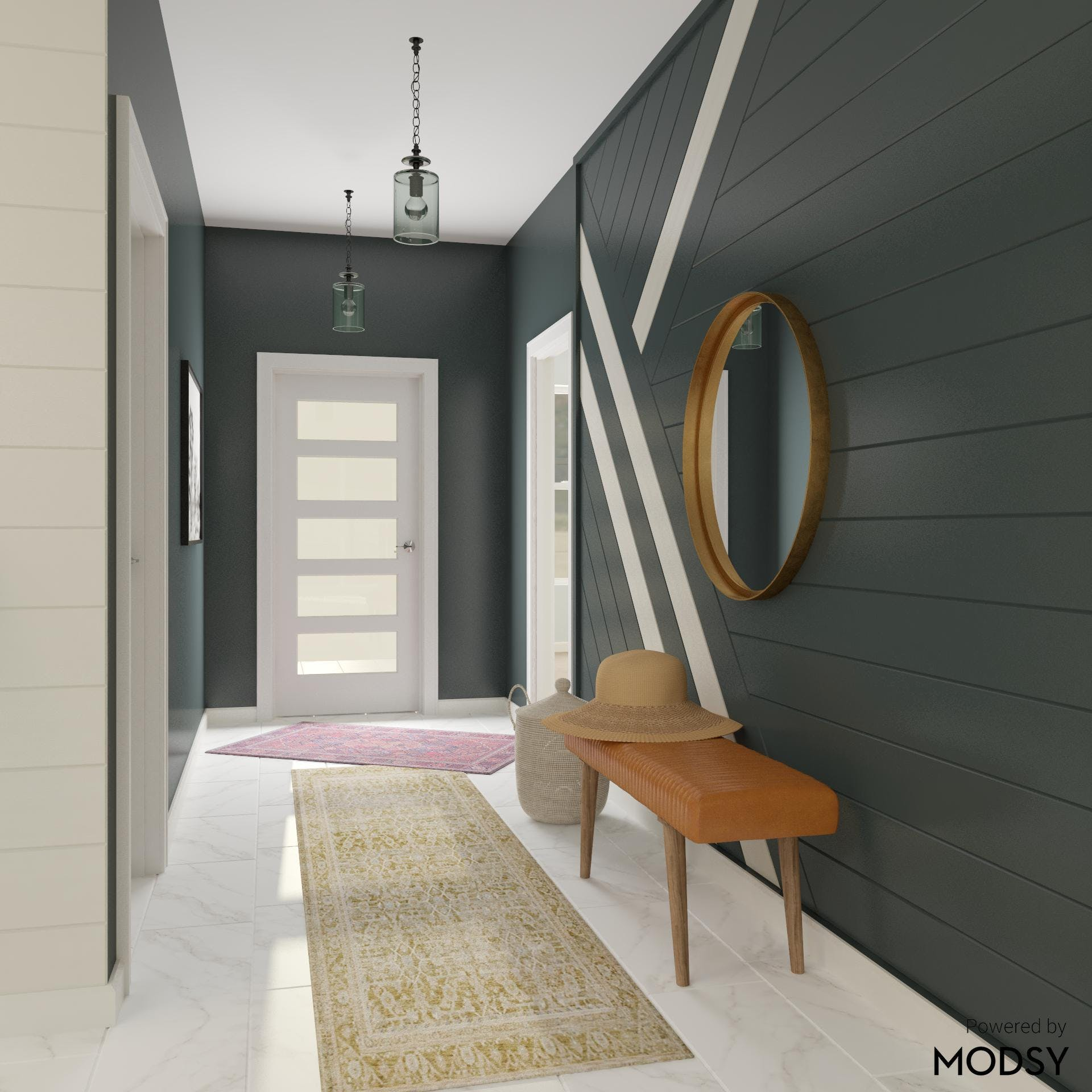 Moody Entryway with Eclectic Styling
