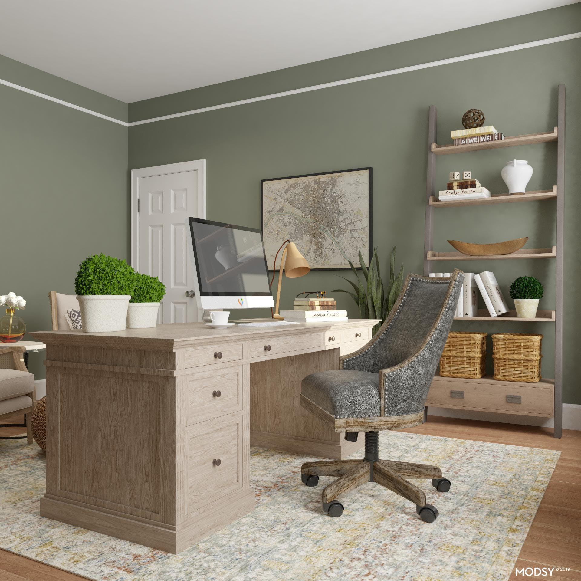 Rustic Earth Tones: Home Office