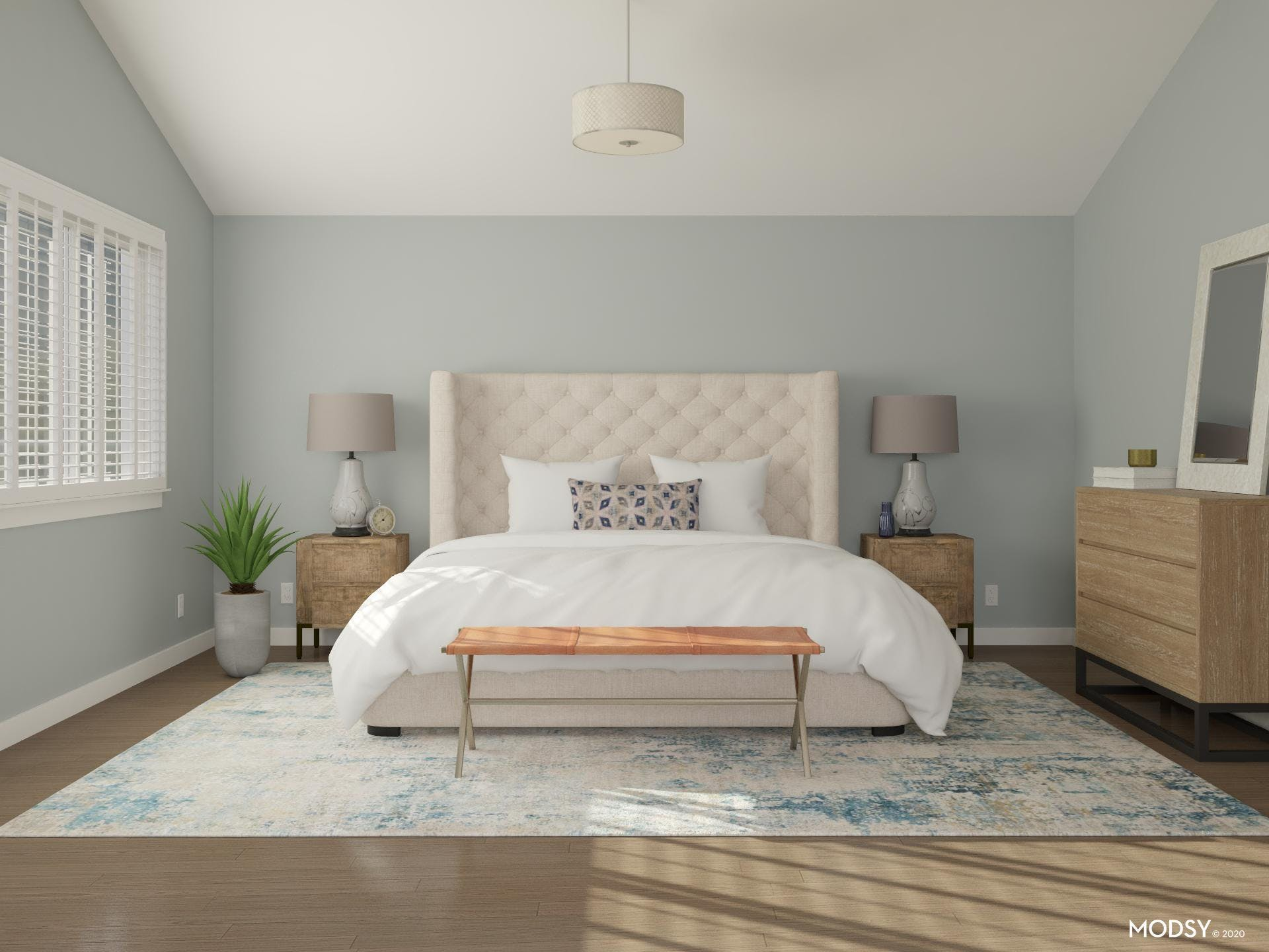 Minimal and Contemporary Bedroom in Breezy Blue