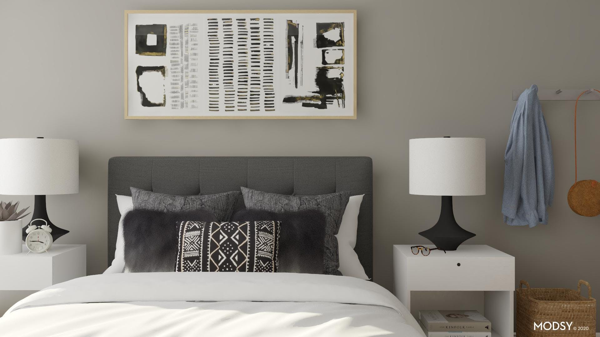 Black and White Eclectic Bedroom