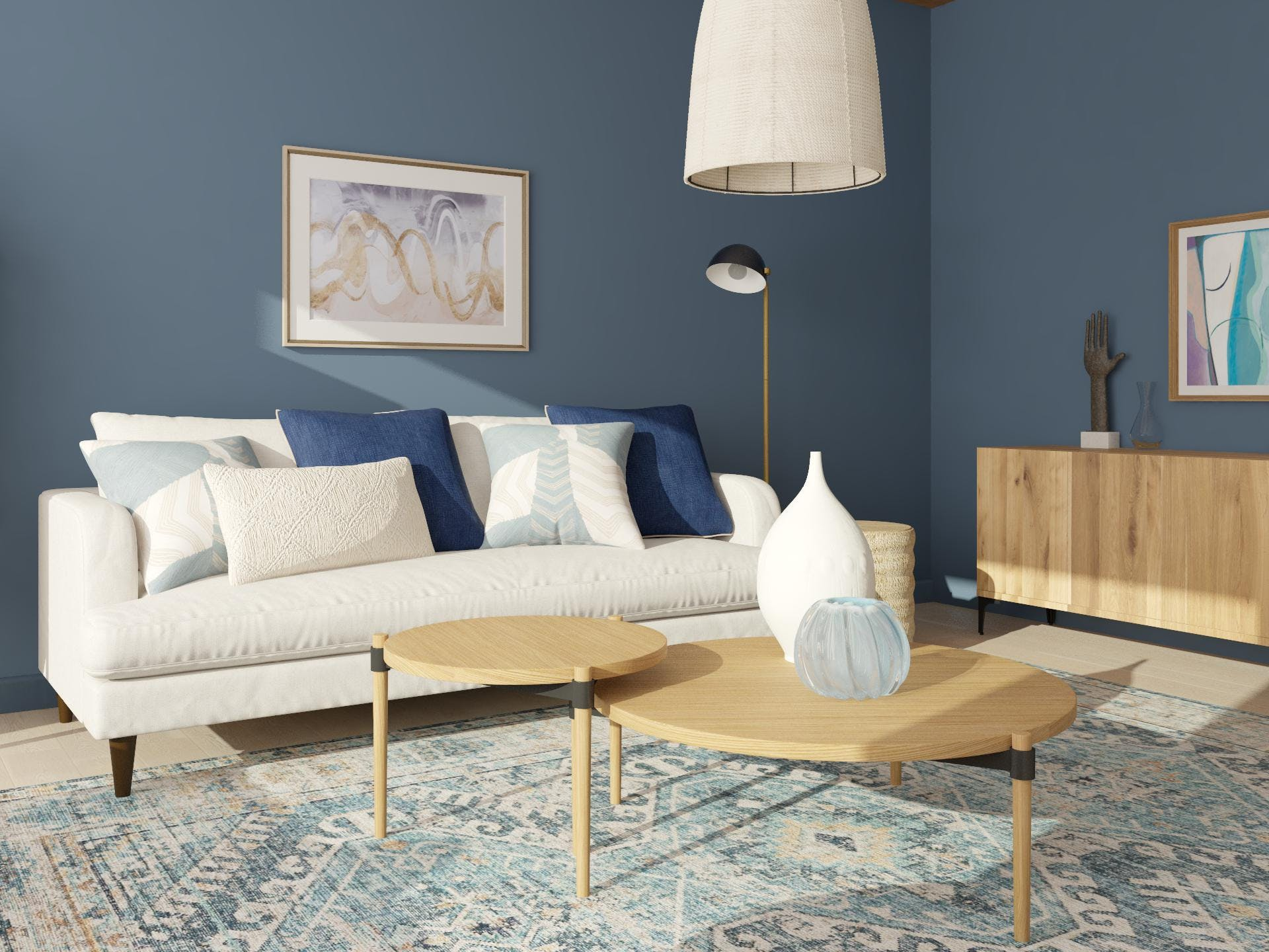 Contemporary Sofa in Tranquil Blue Hues Living Room