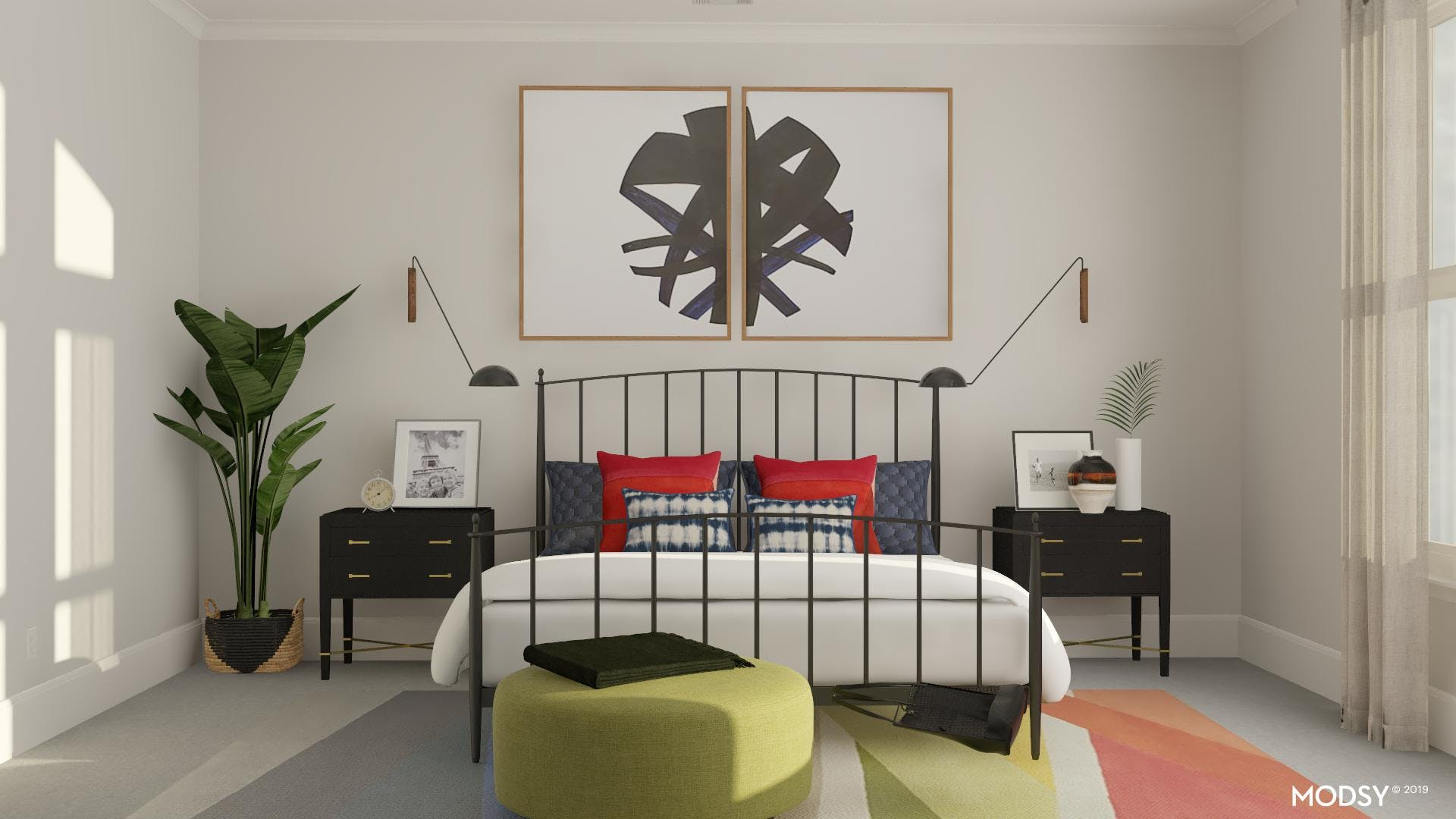 Dynamic Color: Industrial Bedroom