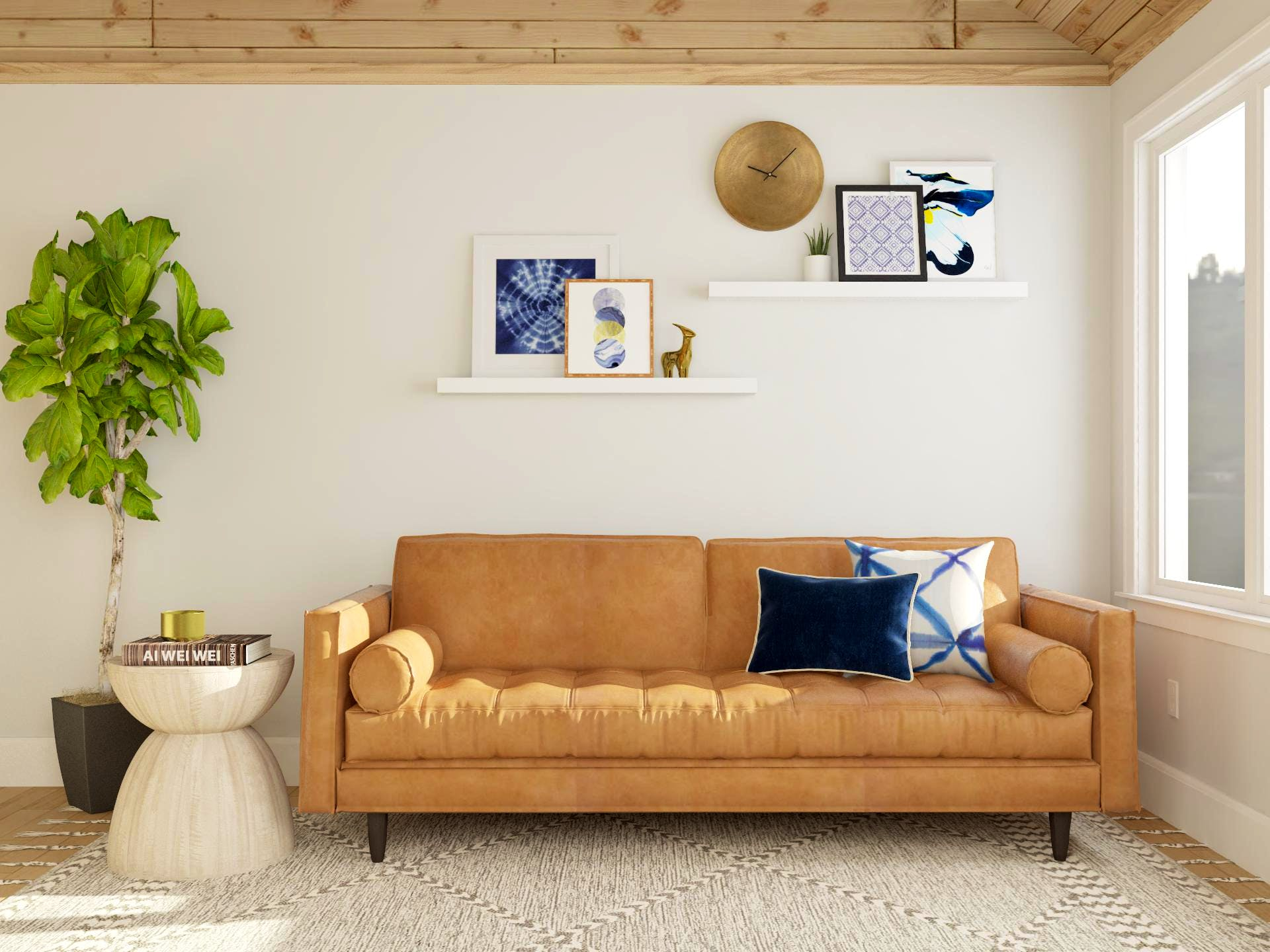 Mid-Century Modern Sofa in Camel With Decorative Hanging Shelves