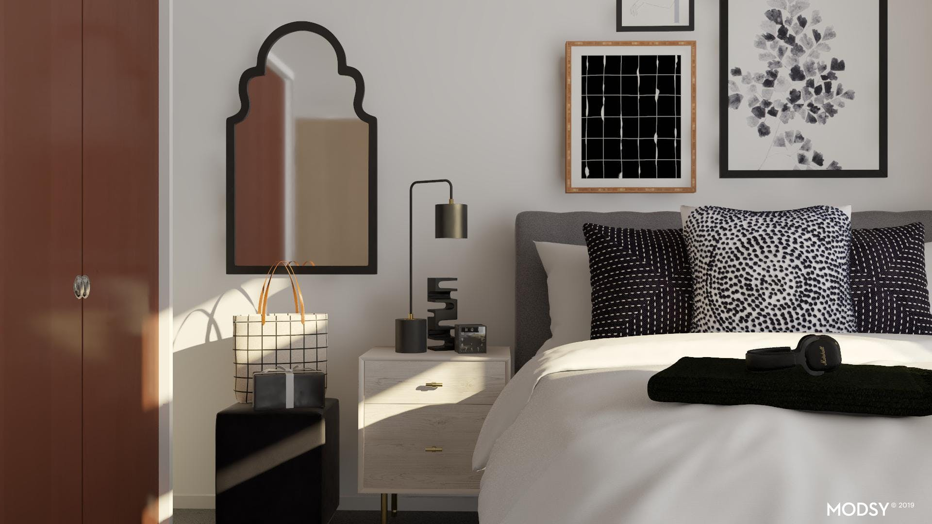 Delicate Prints And Clean Lines: Bedroom