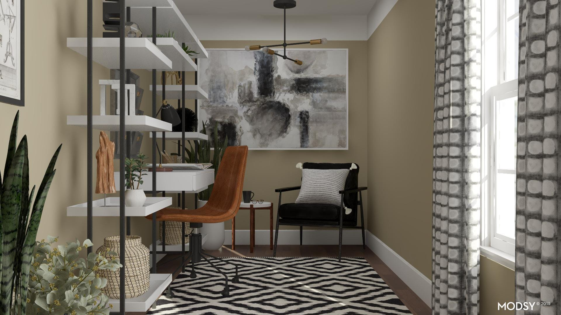 Black And White Office Goes Eclectic