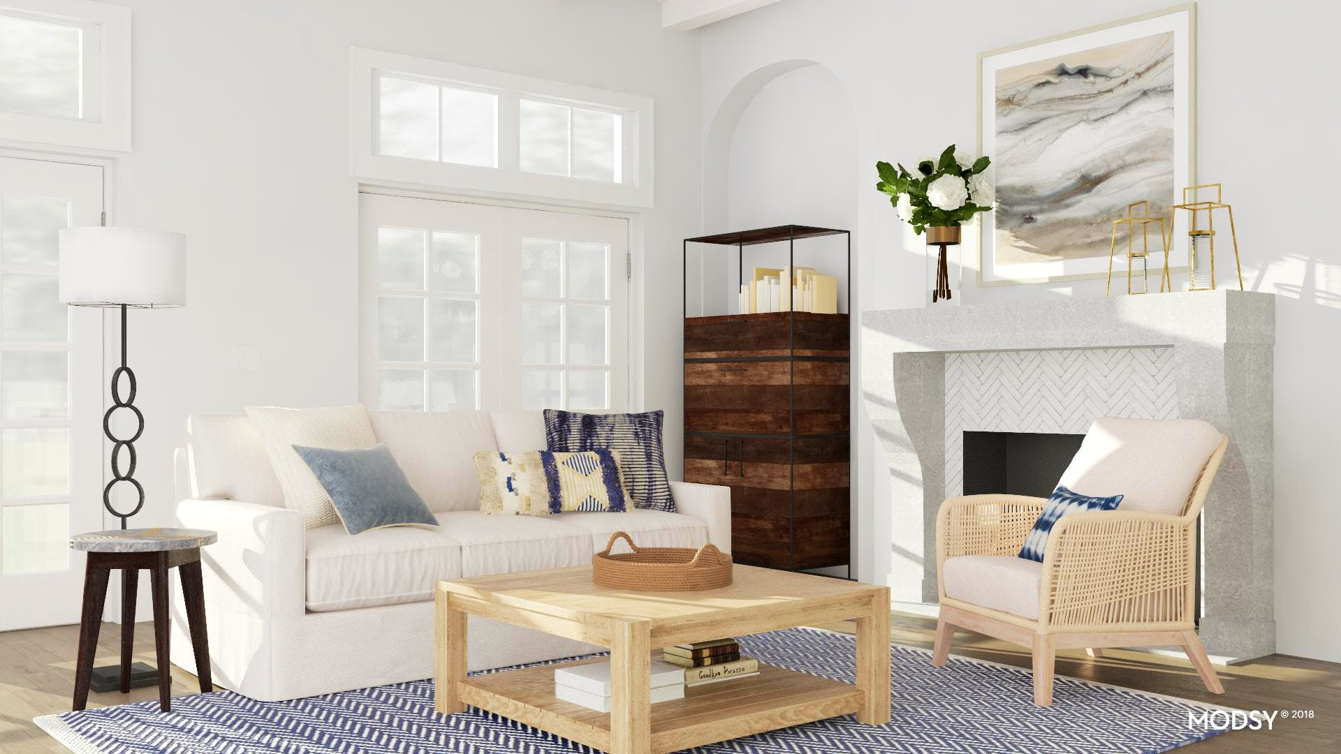A Bright Cottage-Inspired Living Room | Coastal-Style Living ...