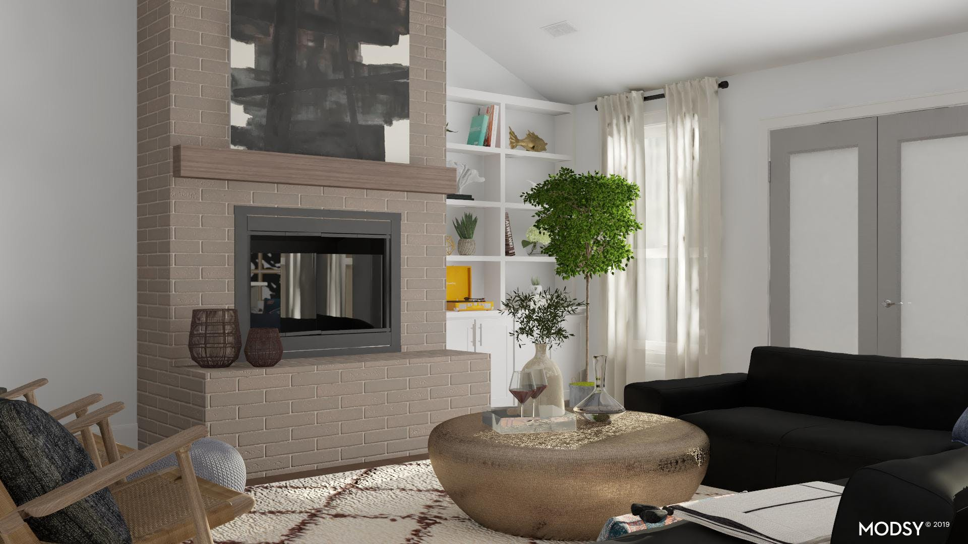 Homey Living Room With Fireplace