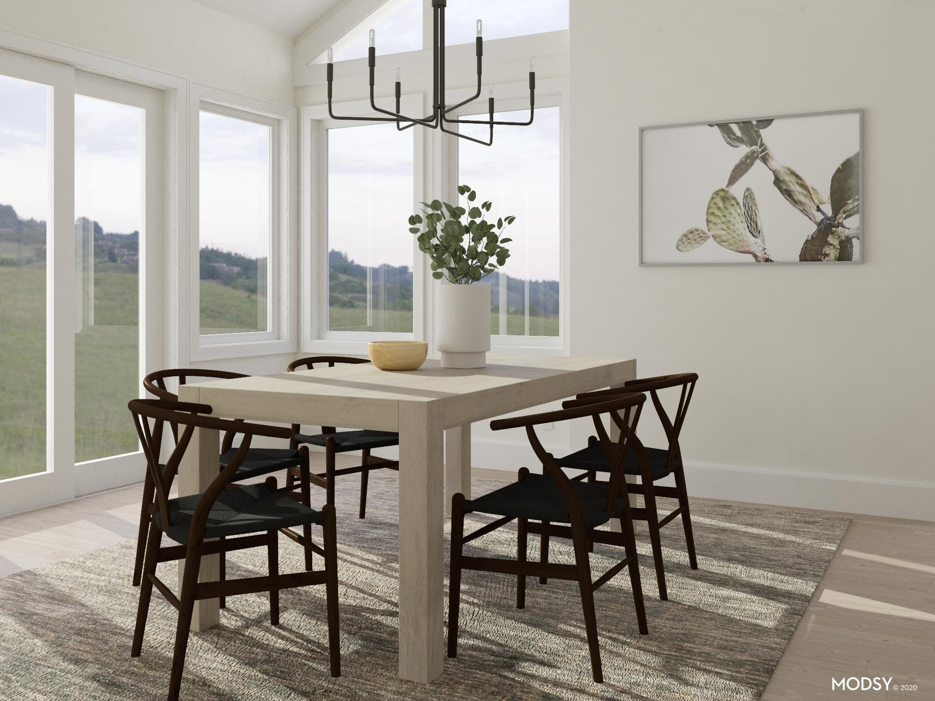 Airy Dining Room In Transitional Style and Casual Vibe
