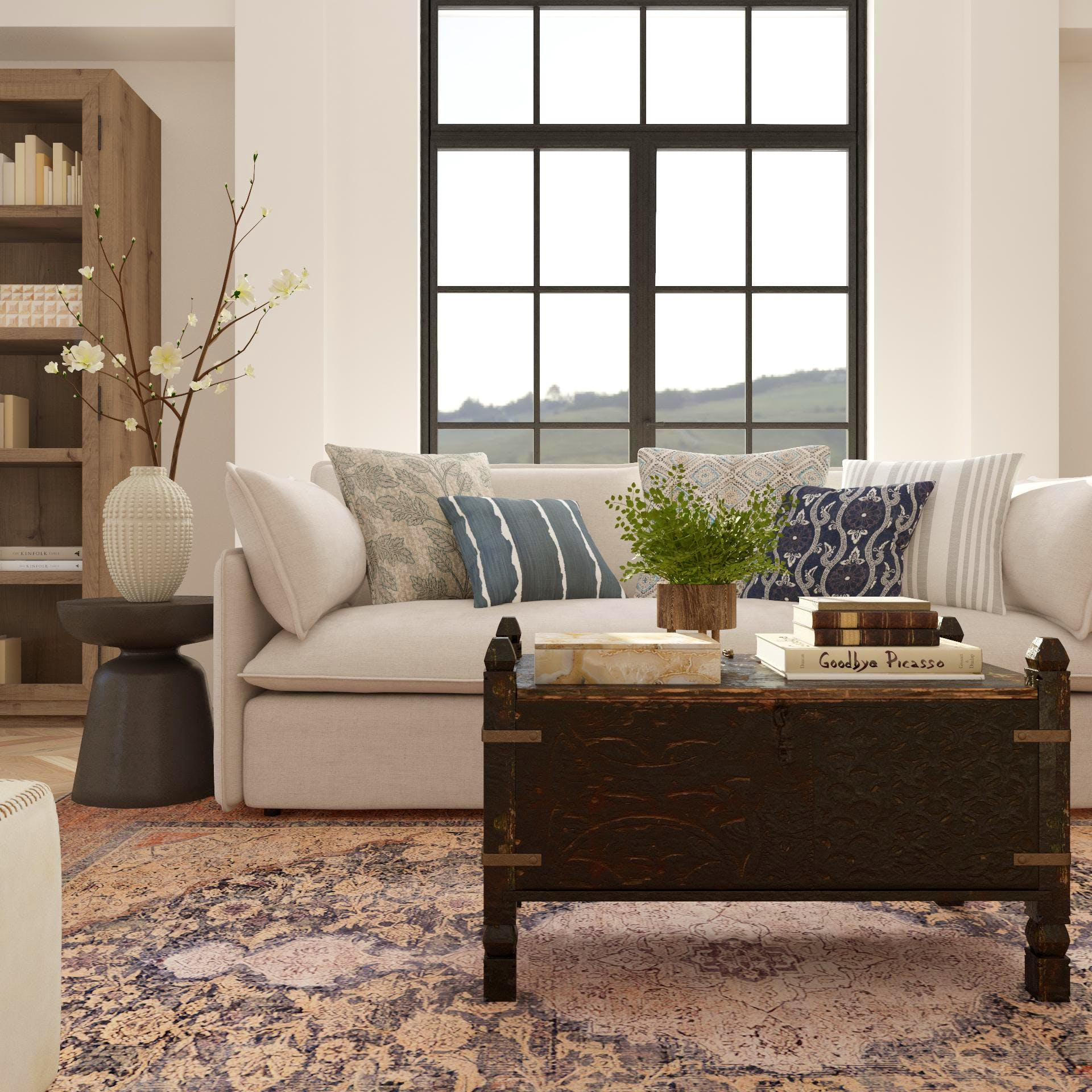 Modern Rustic Living Room With Antique Coffee Table Trunk