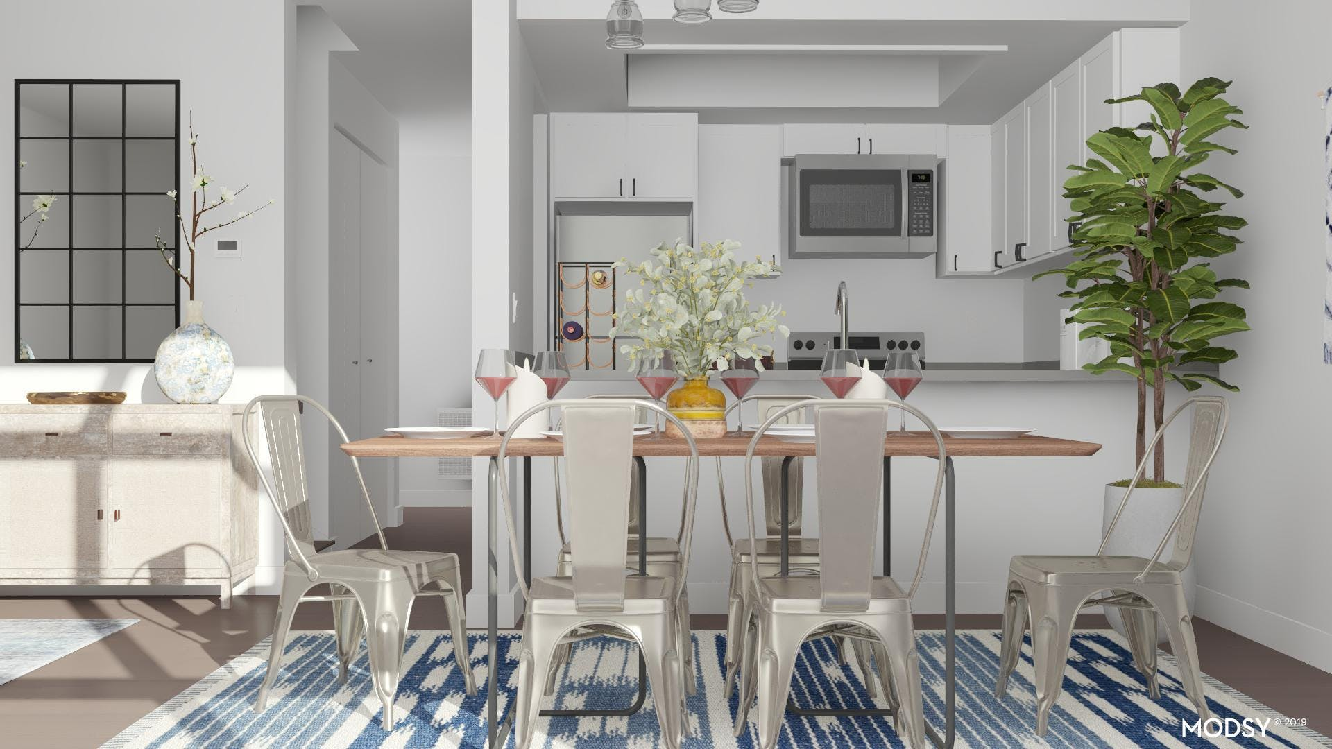 Industrial Dining Room in Blue