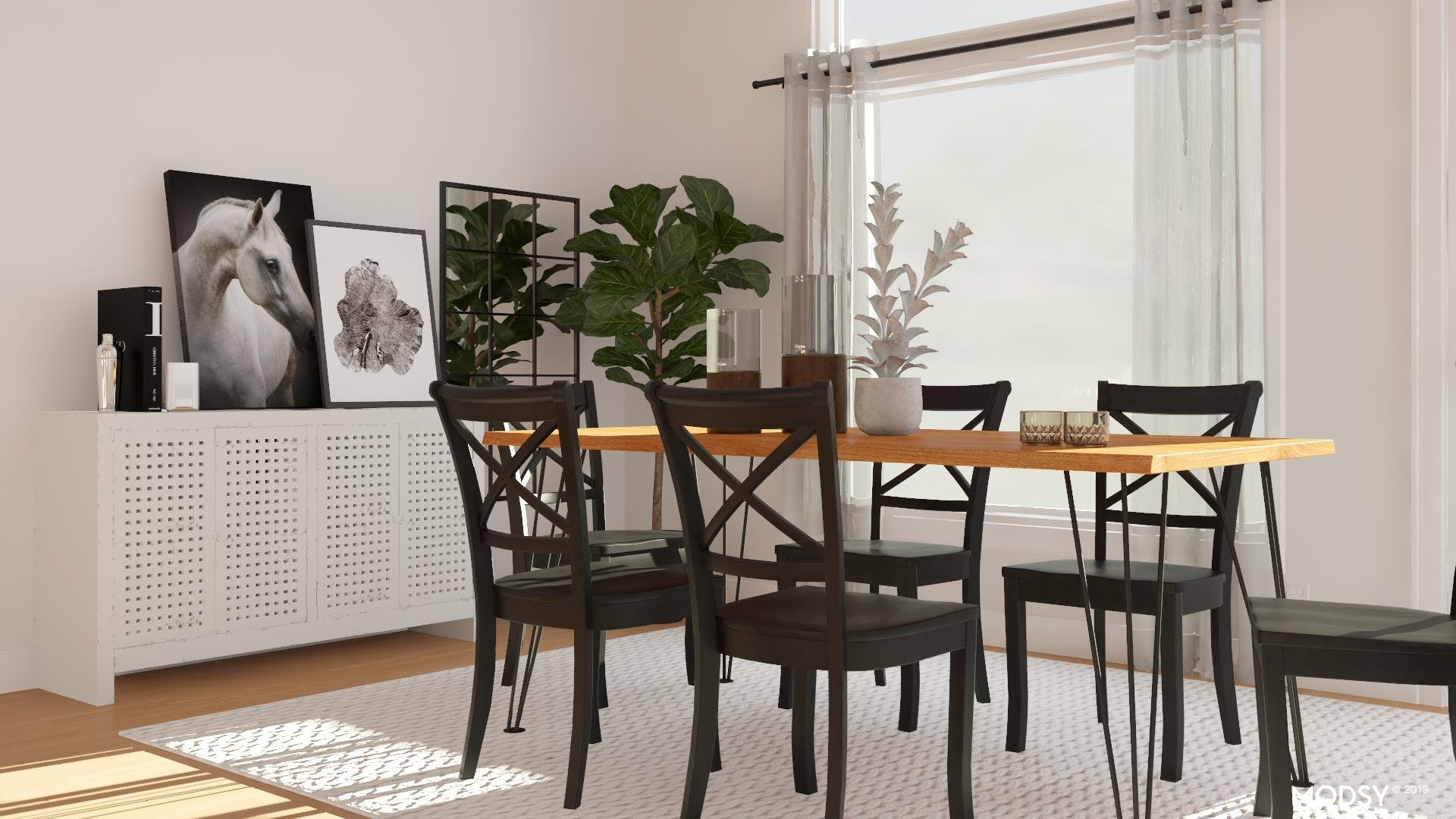 Comfortable In Black & White: Dining Room