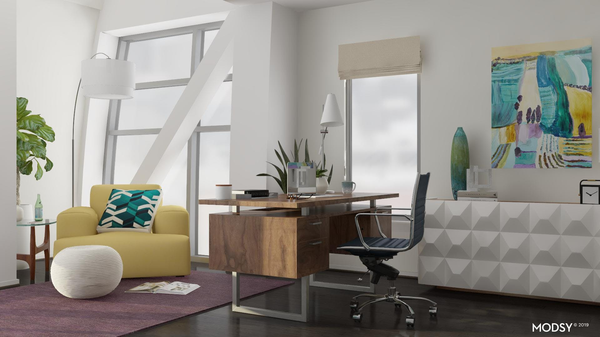A Modern Workspace With Bold Color