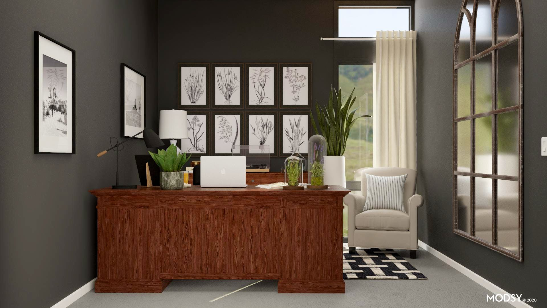 Black and White Traditional Home Office