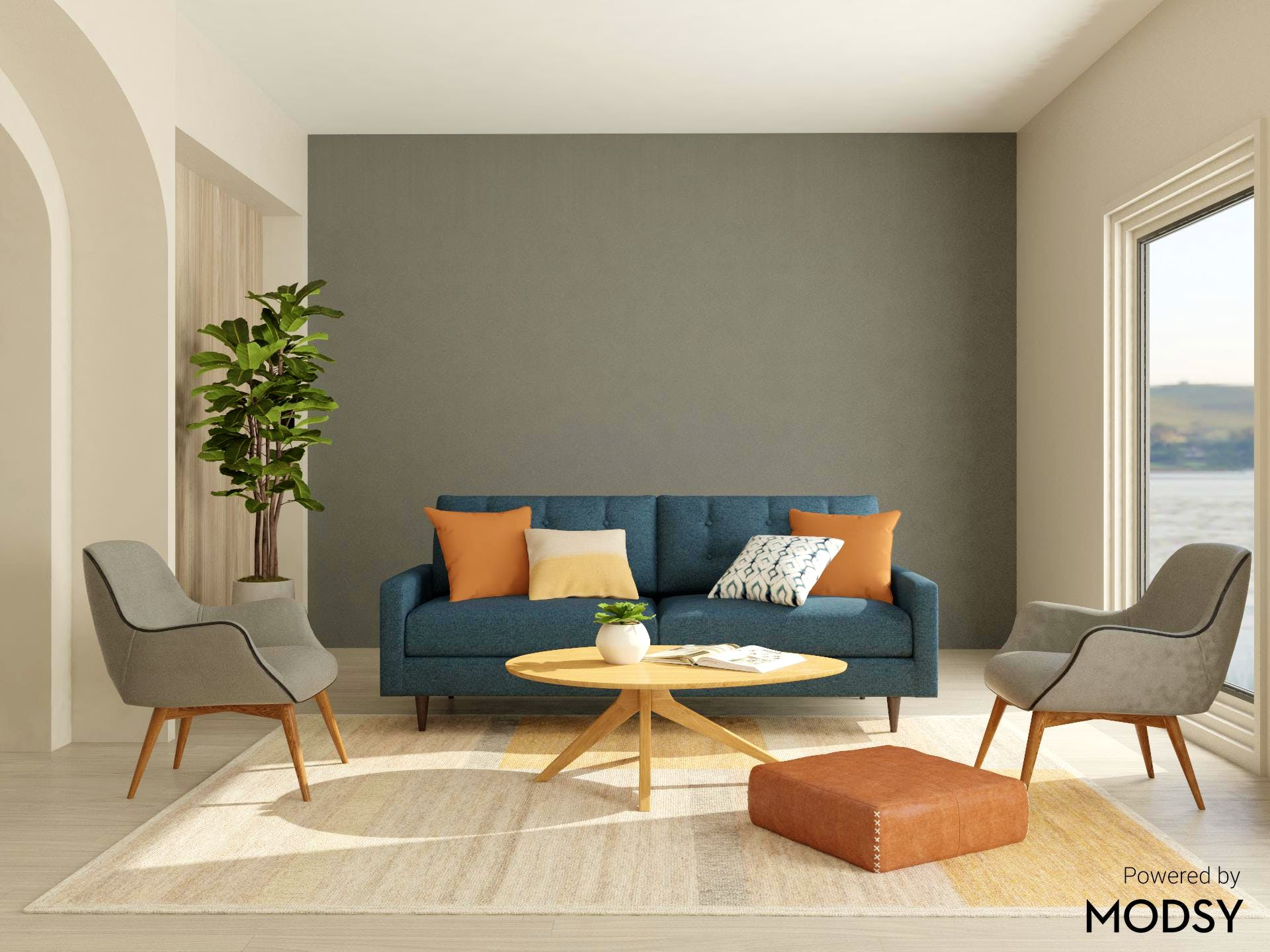 Painted Accent Wall in Mid-Century-Modern Living Room