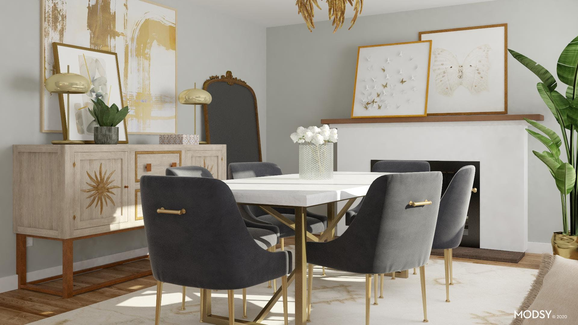 Gold Glam And Beautiful DIning Room