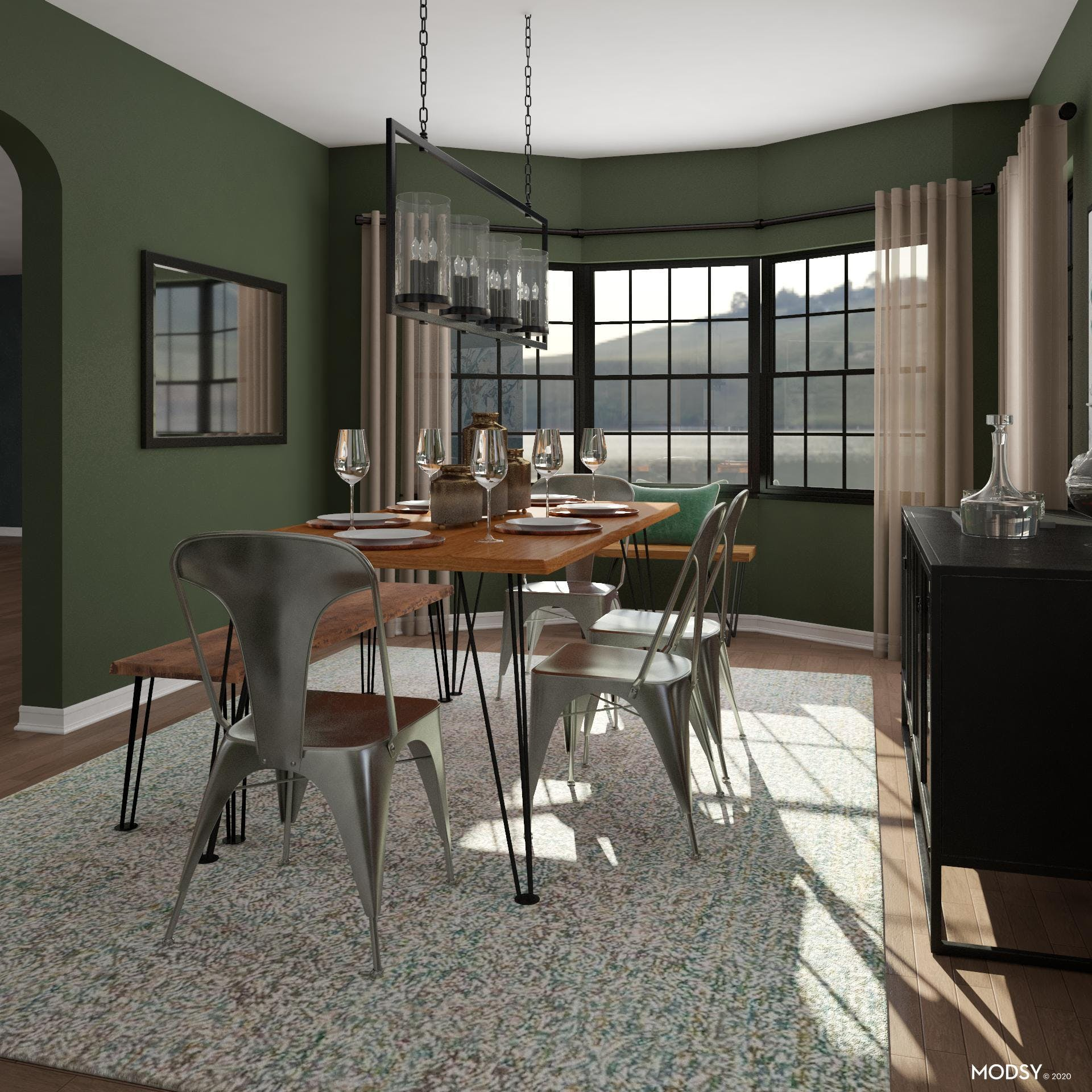 Industrial Dining Room With A View