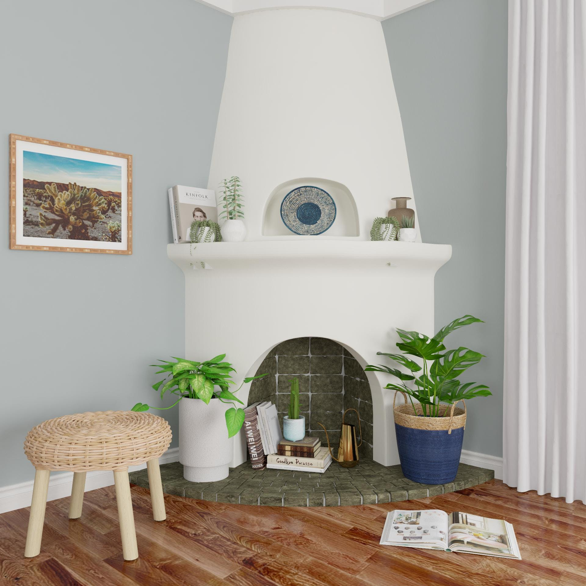 Sweet Fireplace Turned Reading Nook