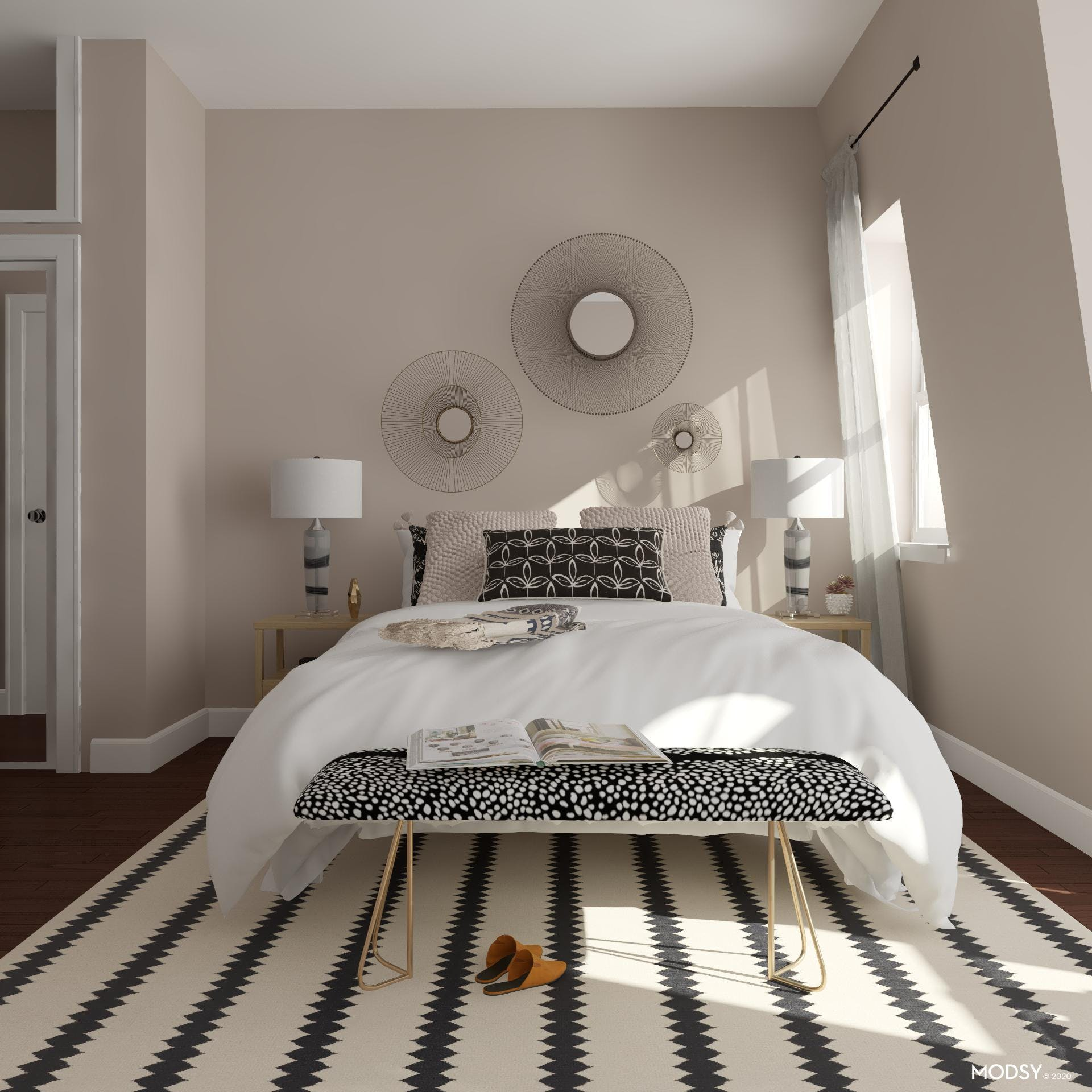 Bedroom Accented With Black And White