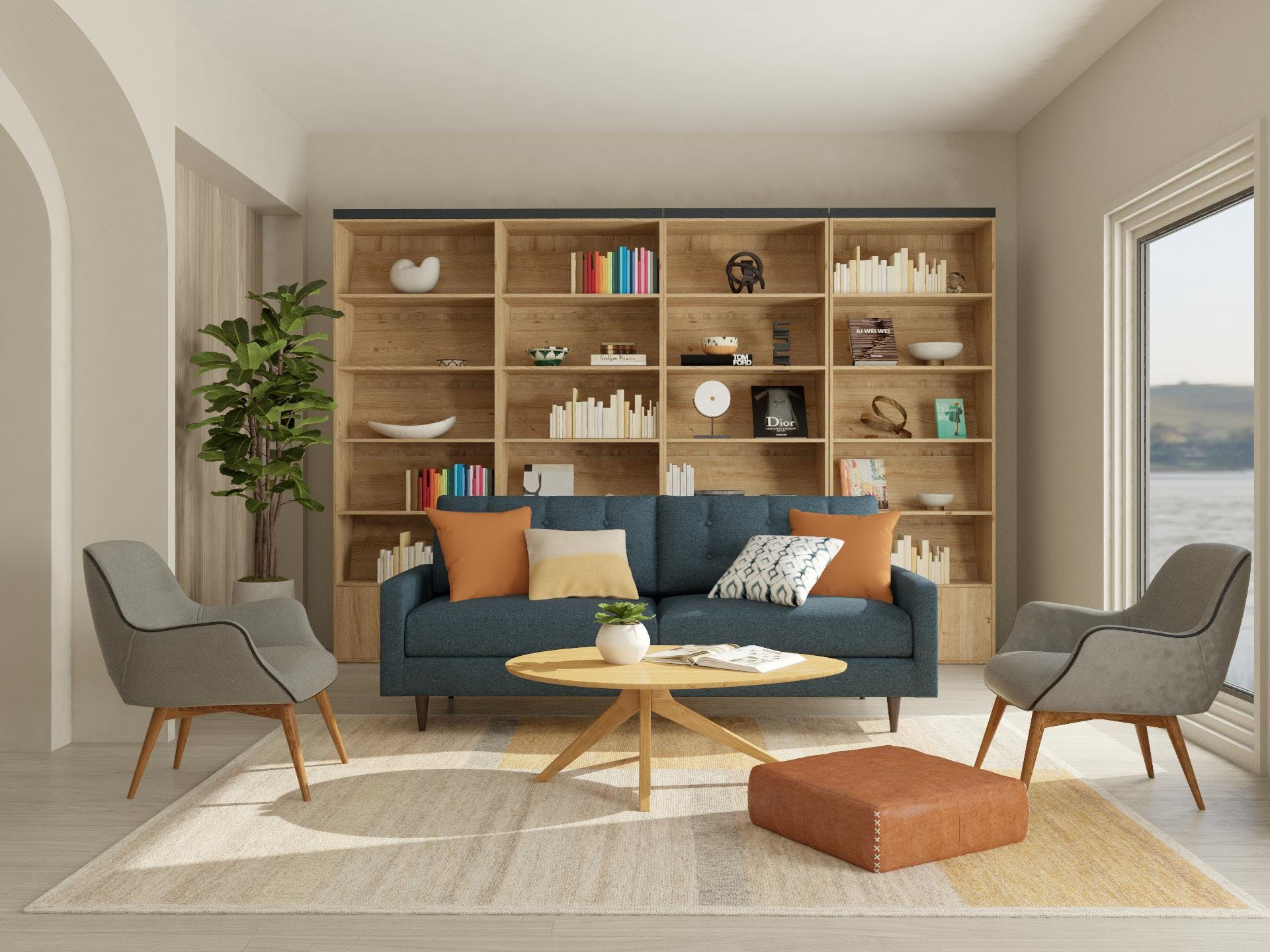 Mid-Century-Modern Living Room with Beautiful Book Shelf Focal-Point