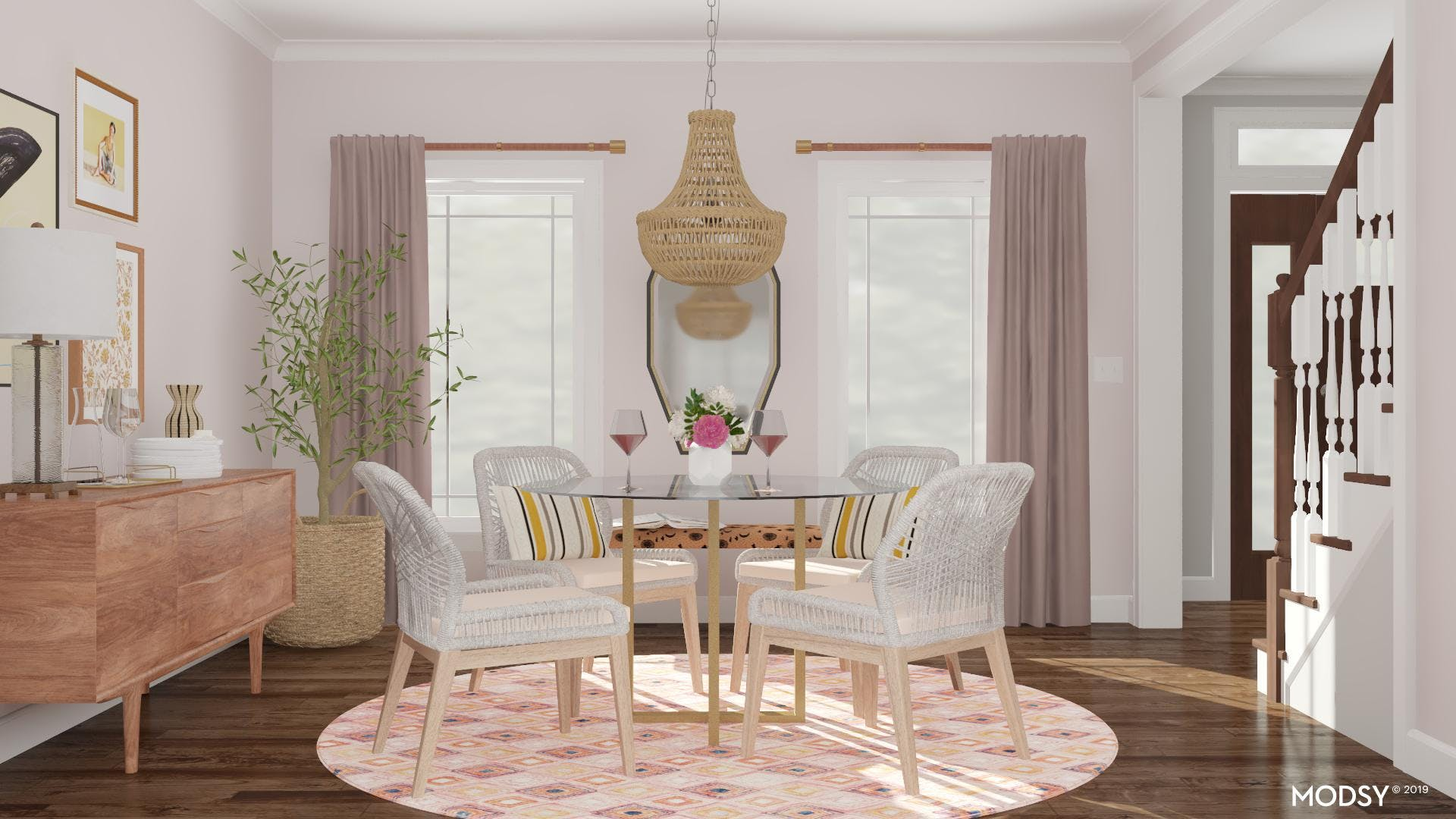Feminine Dining Room with Pastel Flair