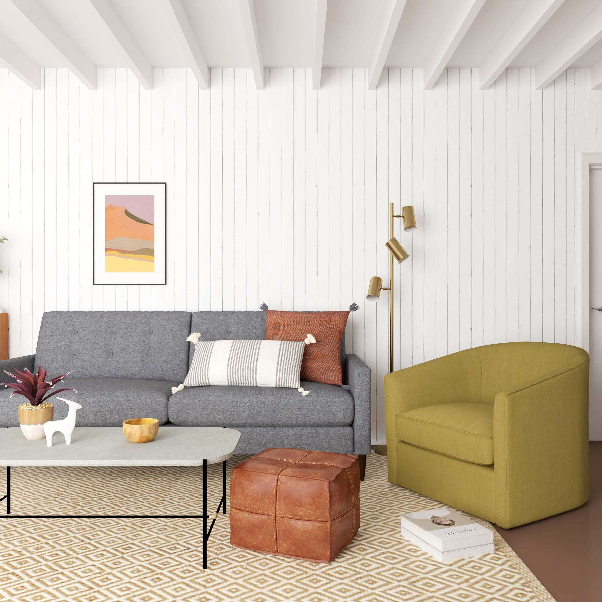 Earth Tone Living Room: Mid-Century Modern