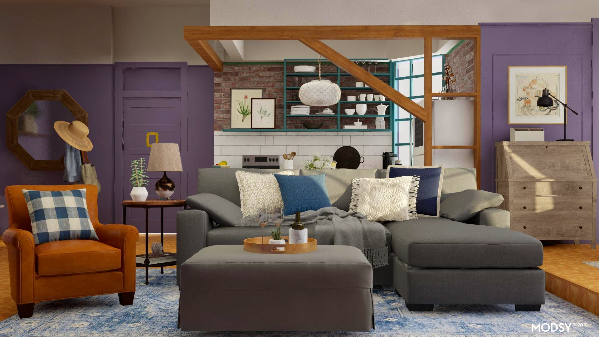 Bold Transitional Open Living & Dining Room