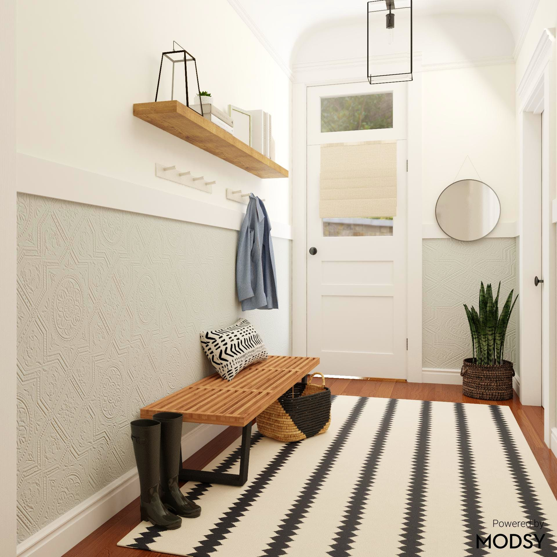 Mid-Century-Modern Entryway with  Bold Black & White