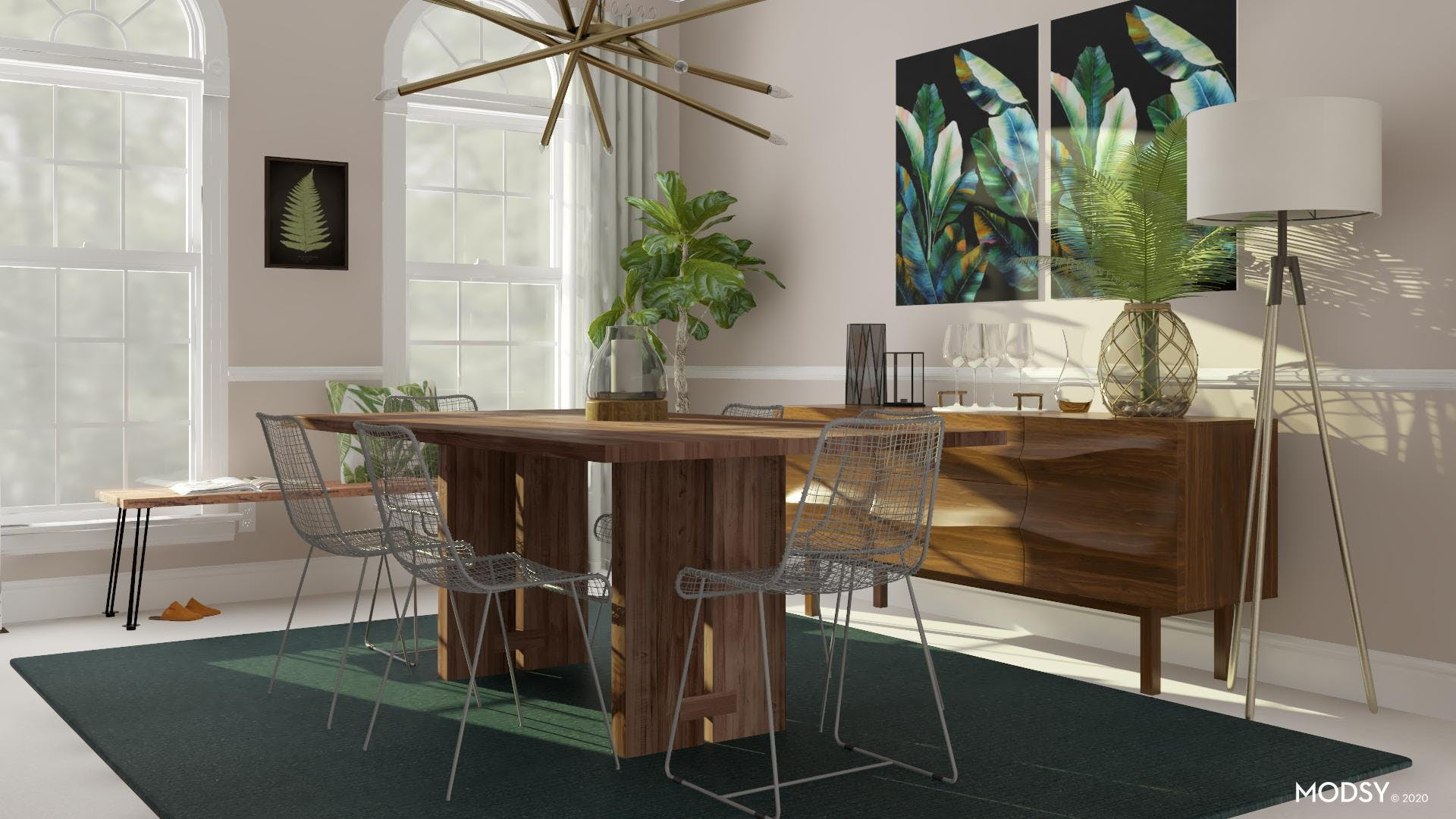 A Green Industrial Dining Space