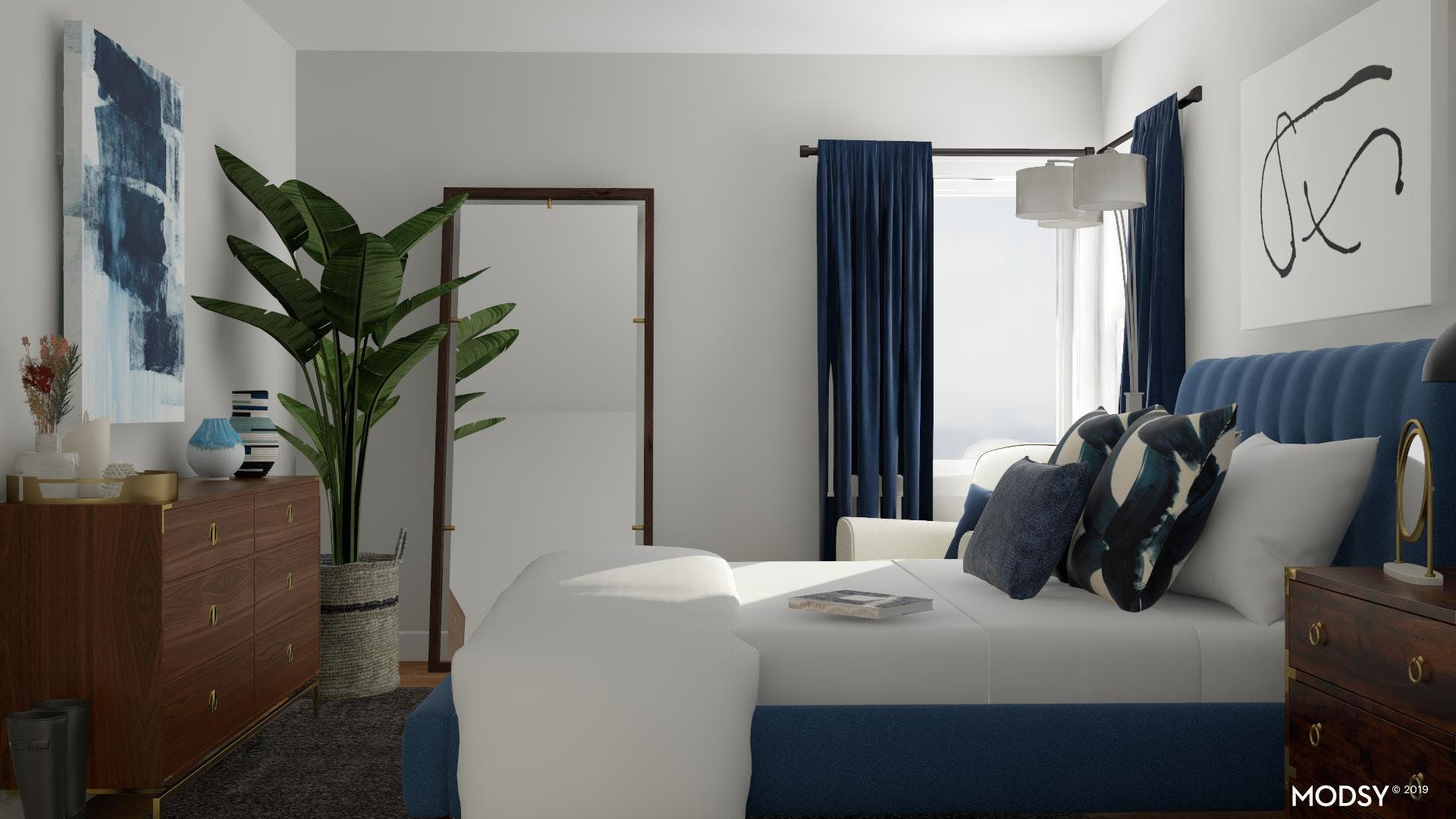 Bold Blue Bedroom with a Contemporary Flare