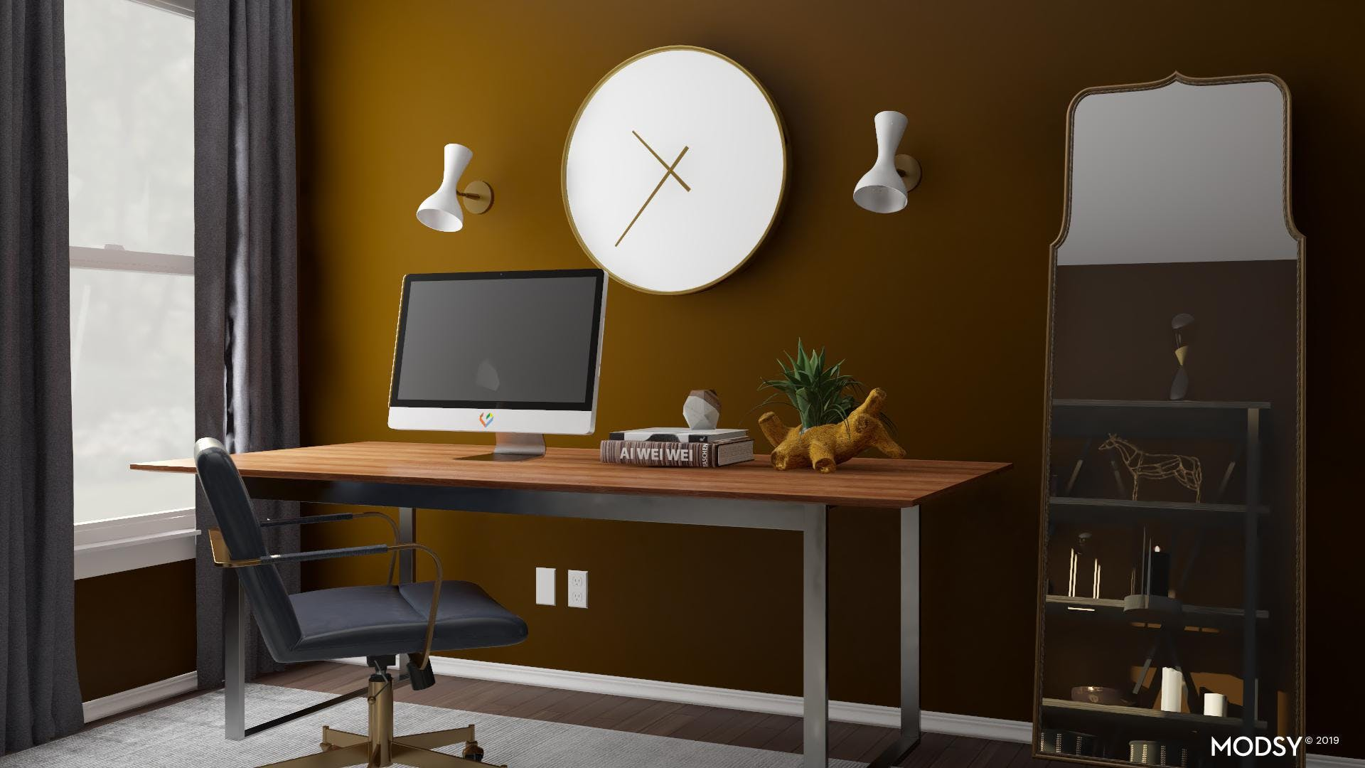 Bold Black and White Office