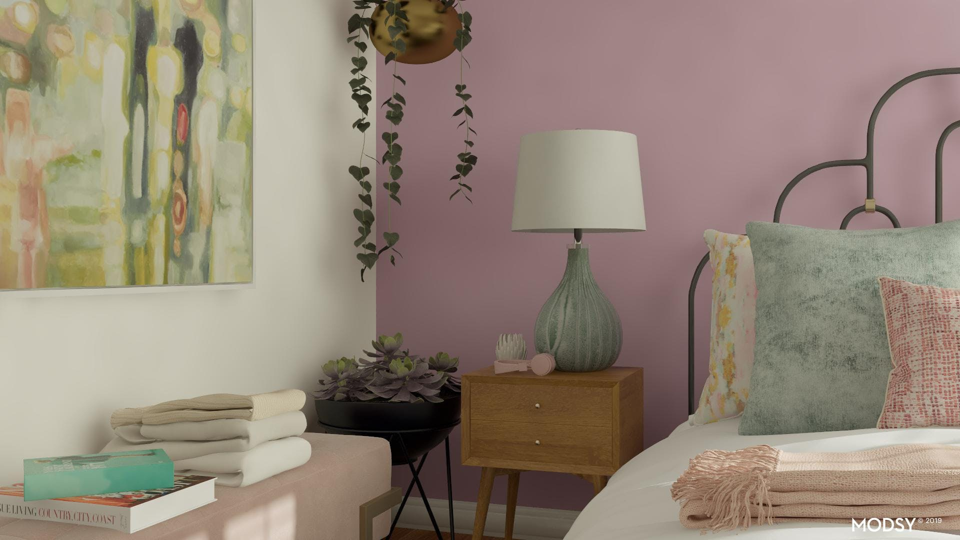 Mid-Century Modern Bedroom With Pastel Accents