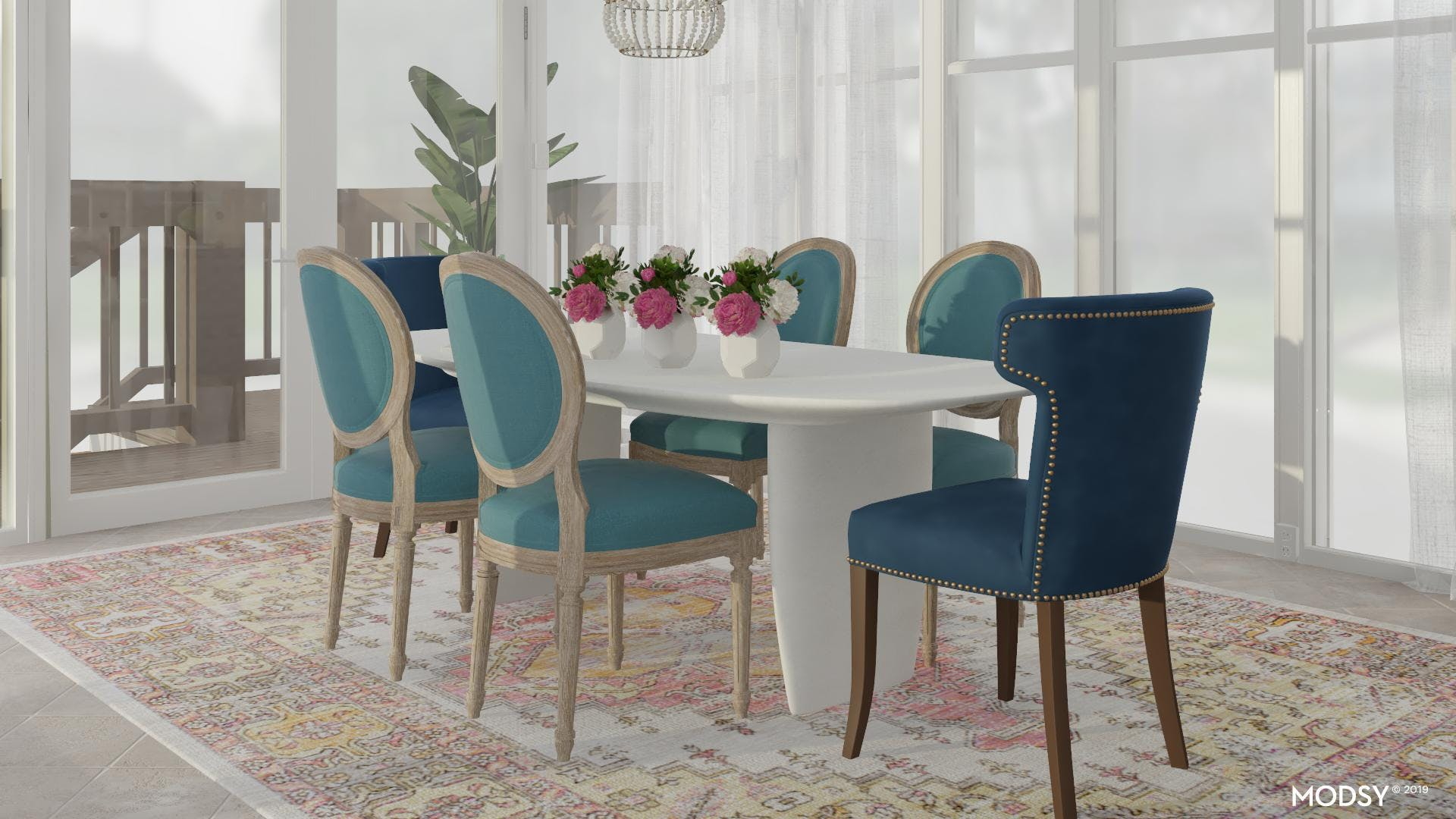 Light-Filled Coastal Dining Room with Color