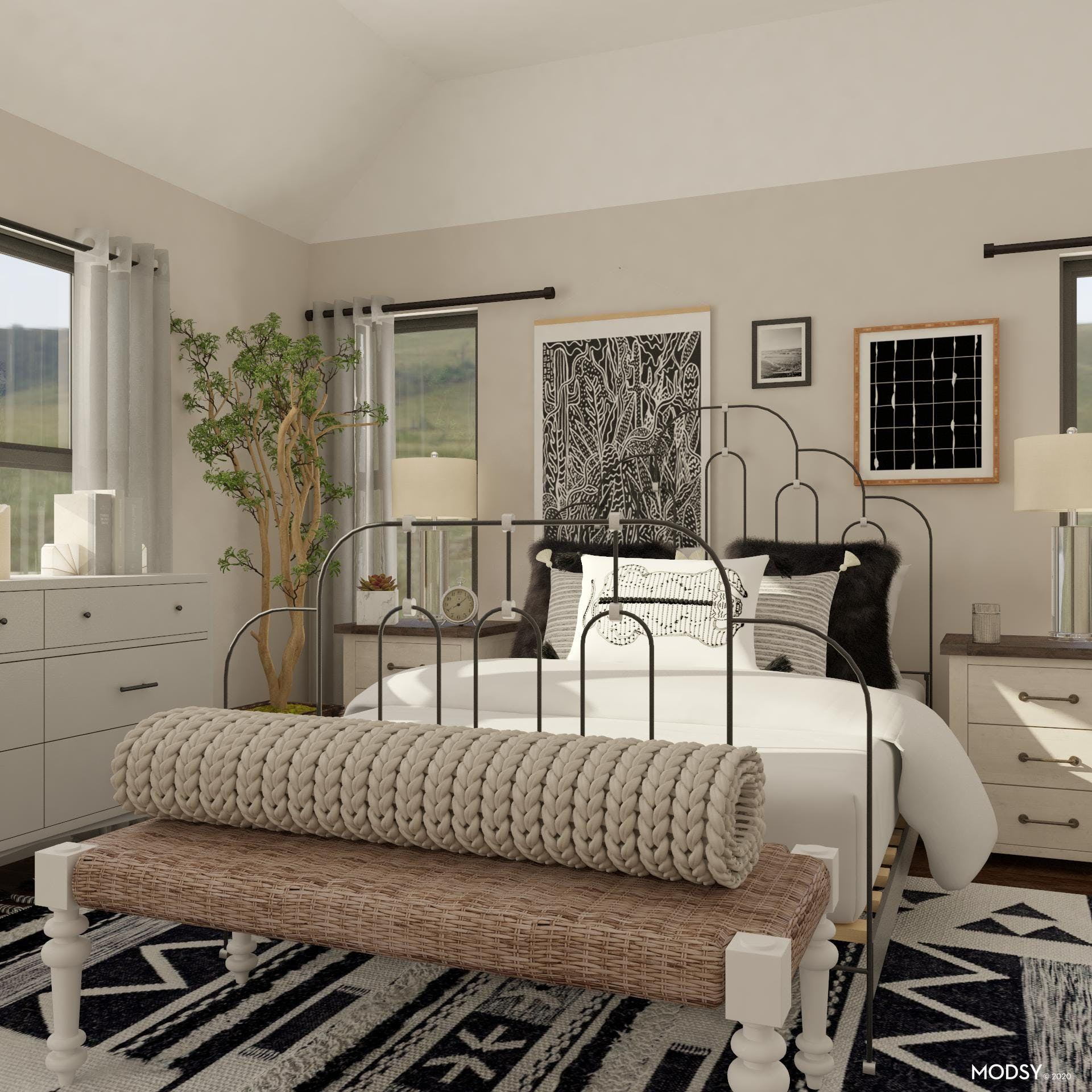 Eclectic Bedroom: Black And White Remix