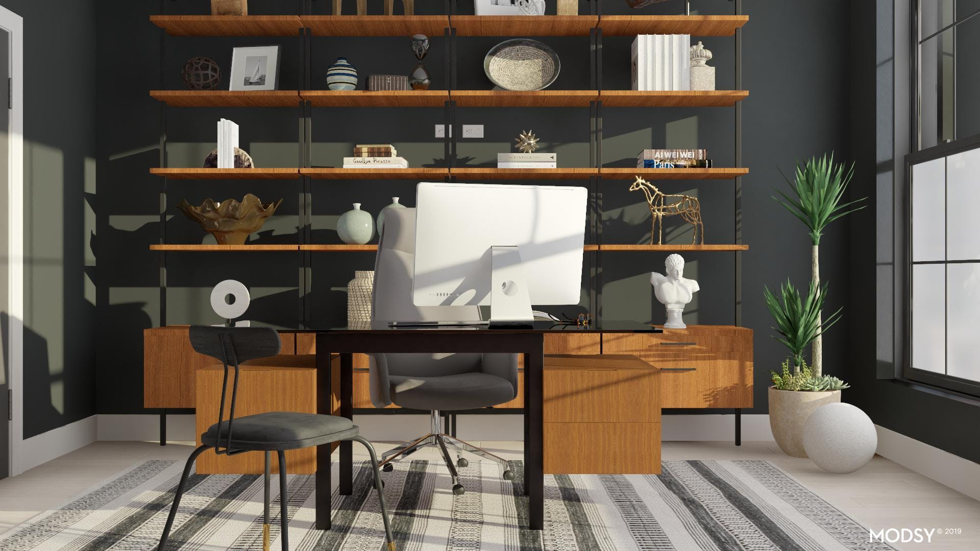 Mid-Century Modern Masculine Black And White Office Display