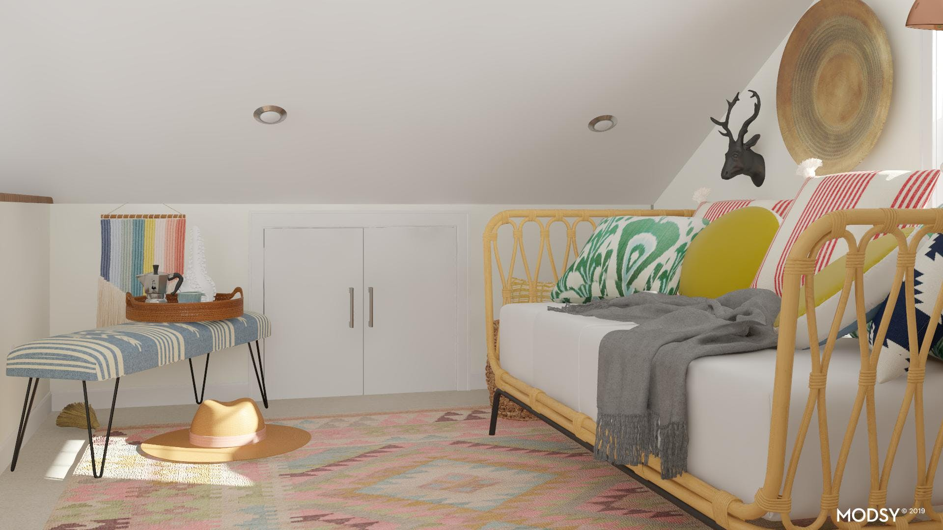 A Small Bedroom with a Bench