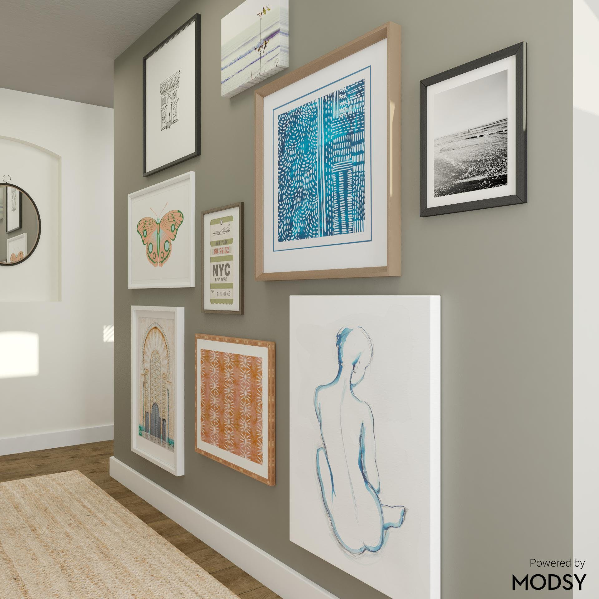 Gallery Wall Entryway in Eclectic Style