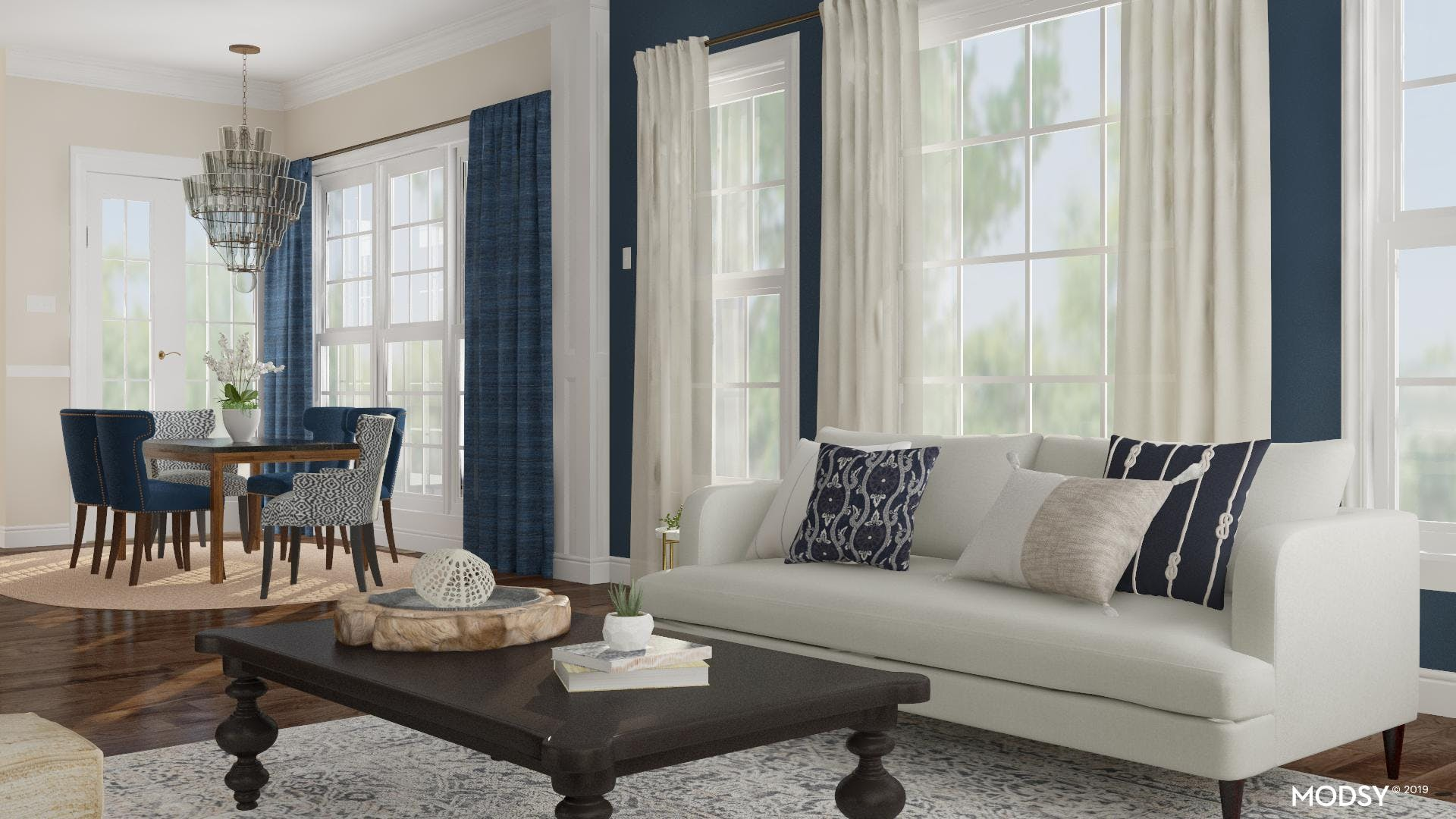 Pretty in Blue Living and Dining Room